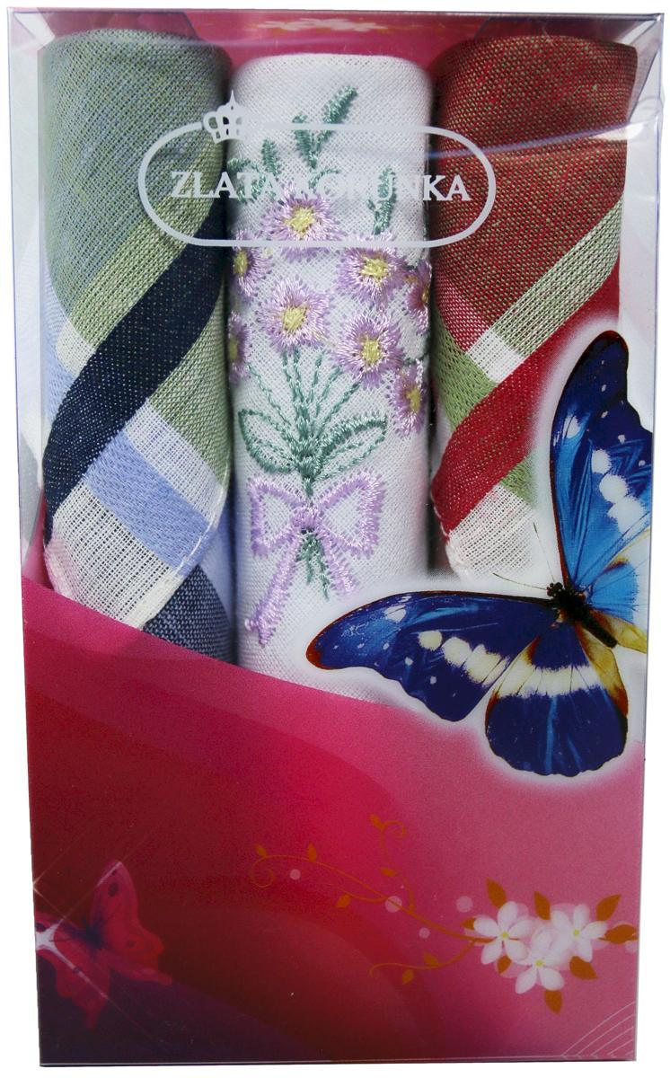 Платок носовой женский Zlata Korunka, цвет: зеленый, белый, красный, 3 шт. 40423-117. Размер 28 см х 28 см40423-117Небольшой женский носовой платок Zlata Korunka изготовлен из высококачественного натурального хлопка, благодаря чему приятен в использовании, хорошо стирается, не садится и отлично впитывает влагу. Практичный и изящный носовой платок будет незаменим в повседневной жизни любого современного человека. Такой платок послужит стильным аксессуаром и подчеркнет ваше превосходное чувство вкуса. В комплекте 3 платка.