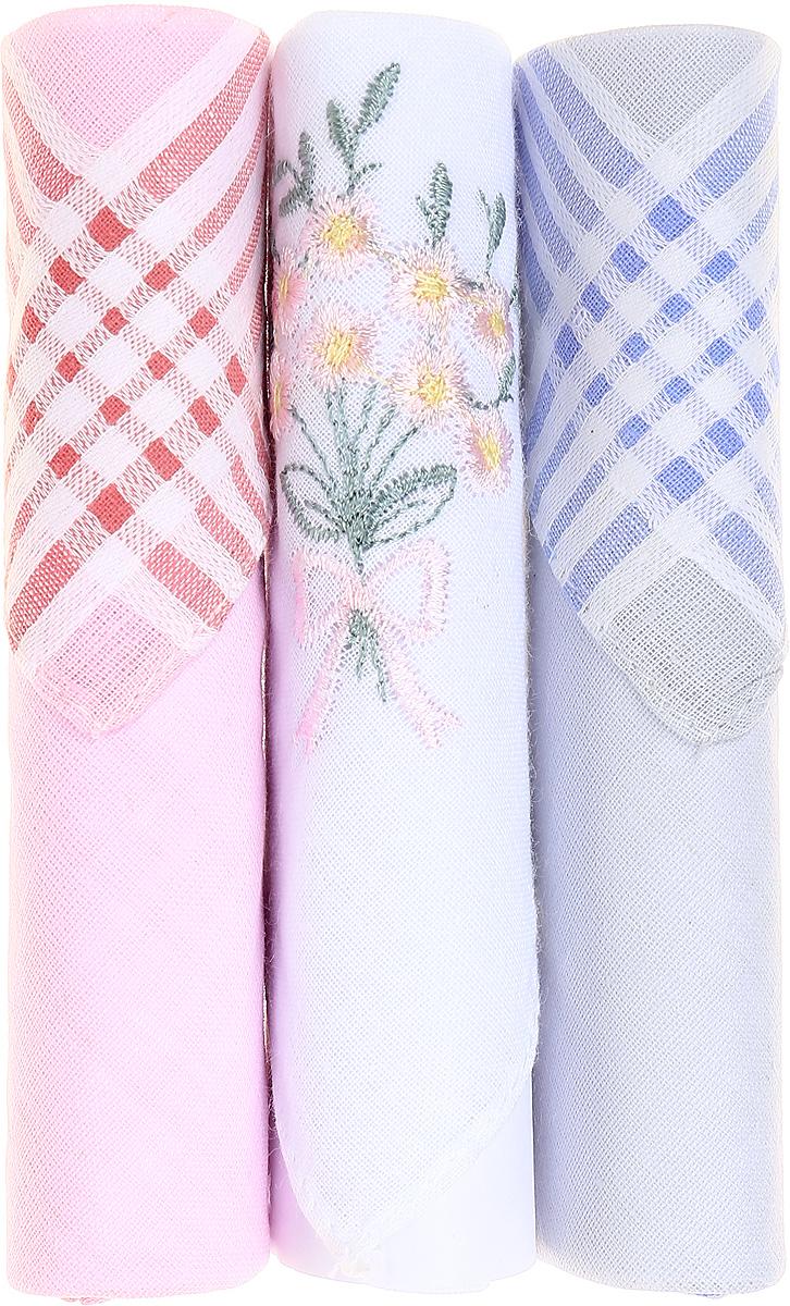 Платок носовой женский Zlata Korunka, цвет: розовый, белый, голубой, 3 шт. 40423-118. Размер 28 см х 28 смСерьги с подвескамиНебольшой женский носовой платок Zlata Korunka изготовлен из высококачественного натурального хлопка, благодаря чему приятен в использовании, хорошо стирается, не садится и отлично впитывает влагу. Практичный и изящный носовой платок будет незаменим в повседневной жизни любого современного человека. Такой платок послужит стильным аксессуаром и подчеркнет ваше превосходное чувство вкуса.В комплекте 3 платка.