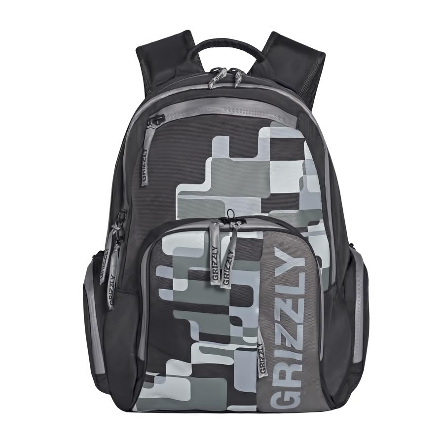 Рюкзак городской мужской Grizzly, цвет: темно-серый, 24 л. RU-719-1/3RU-719-1/3Рюкзак городской Grizzl выполнен из высококачественного полиэстера и оформлен оригинальным фирменным принтом. Рюкзак имеет петлю для подвешивания и две удобные лямки, длина которых регулируется с помощью пряжек. На лицевой стороне расположено два объемных кармана на молнии, один из которых содержит накладные карманы для телефона и канцелярских товаров. Также на лицевой стороне находятся небольшие карманы на молнии для мелочей. Рюкзак оснащен двумя боковыми карманами на молнии. Изделие застегивается на застежку-молнию. Внутри расположено главное вместительное отделение, которое содержит вшитый карман на молнии.