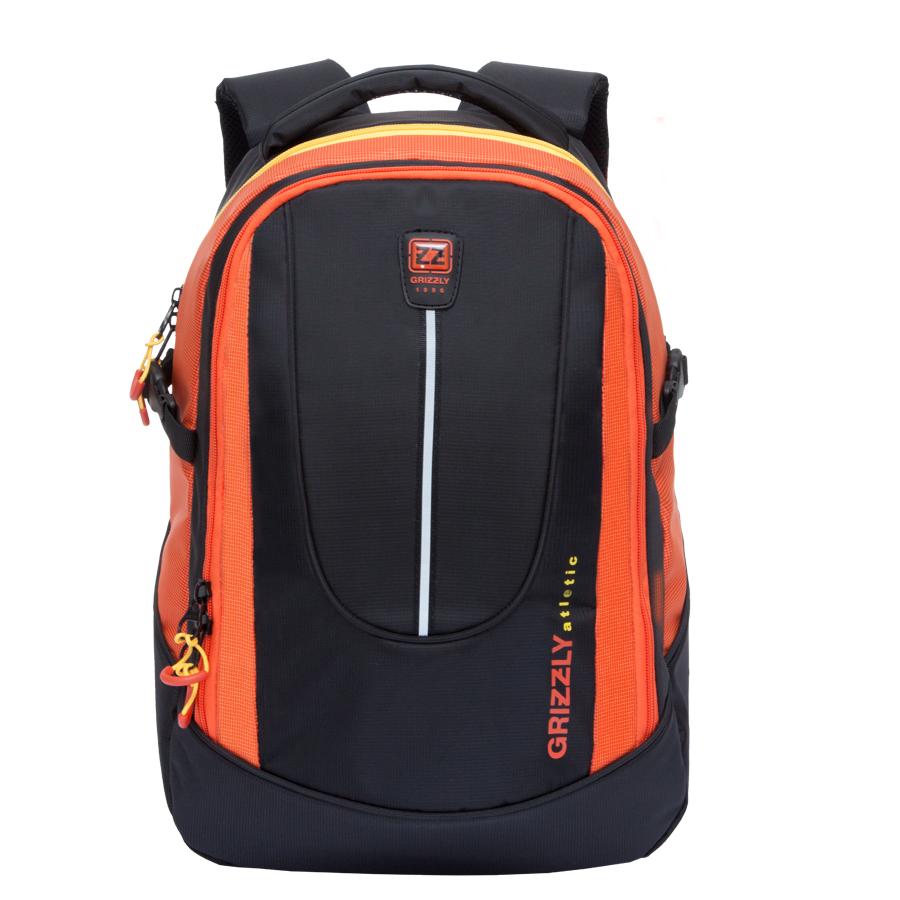 Рюкзак молодежный мужской Grizzly, цвет: черный, оранжевый, 26 л. RU-708-1/2BP-001 BKРюкзак молодежный с двумя отделениями, внутренними карманами для мелочей в переднем отделении и карманом для гаджета и документов в основном отделении, с ручкой для переноски, рельефной спинкой и укрепленными лямками