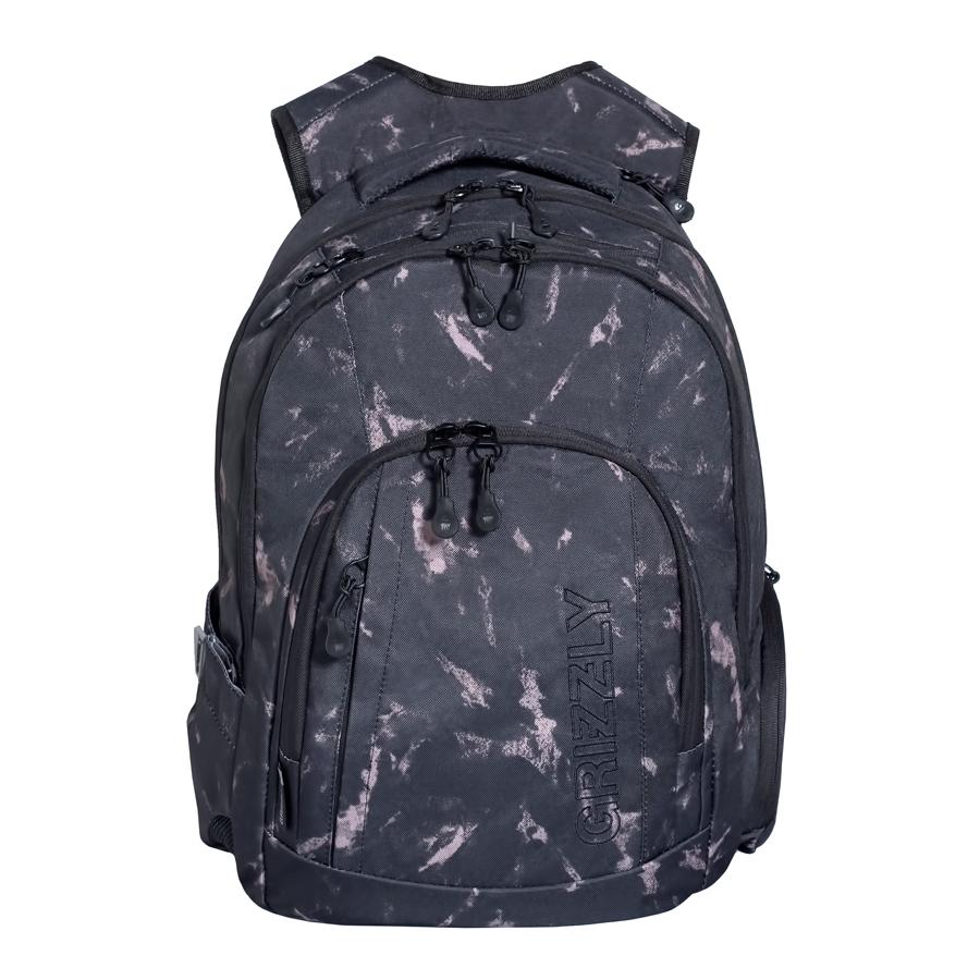Рюкзак городской мужской Grizzly, цвет: темно-серый, бежевый, 24 л. RU-701-1/1BP-001 BKРюкзак городской Grizzl выполнен из высококачественного плотного полиэстера и оформлен камуфляжным принтом. На лицевой стороне расположен карман на молнии, который содержит вшитый карман на молнии, два открытых накладных кармана для мелочей и четыре кармана для канцелярских принадлежностей. Также на лицевой стороне находится вместительный карман на молнии и вертикальный карман на молнии для мелочей. На тыльной стороне расположен вшитый вертикальный карман на молнии. Рюкзак оснащен двумя боковыми карманами для переноски бутылок с водой. Рюкзак имеет петлю для подвешивания и две удобные лямки, длина которых регулируется с помощью пряжек. Изделие закрывается на застежку-молнию. Внутри расположено главное вместительное отделение, которое содержит открытый мягкий карман для планшета.