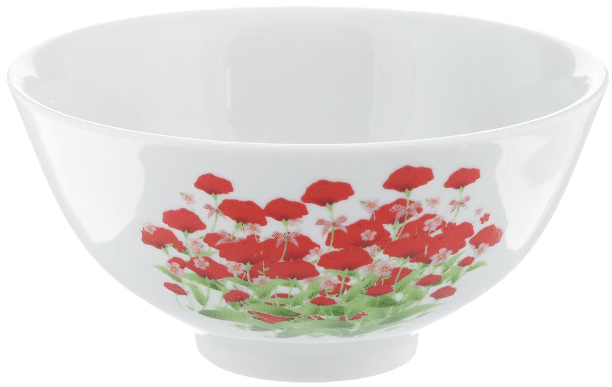 Пиала Фарфор Вербилок Альпийский луг, цвет: белый, красный, диаметр 11 см20113440Пиала Альпийский луг изготовлена из высококачественного фарфора. Внешняя стенка оформлена красочным изображением. Изделие прекрасно подойдет для подачи салата, закуски или чая. Благодаря изысканному дизайну такая пиала станет бесспорным украшением вашего стола. Она дополнит коллекцию кухонной посуды и будет служить долгие годы.