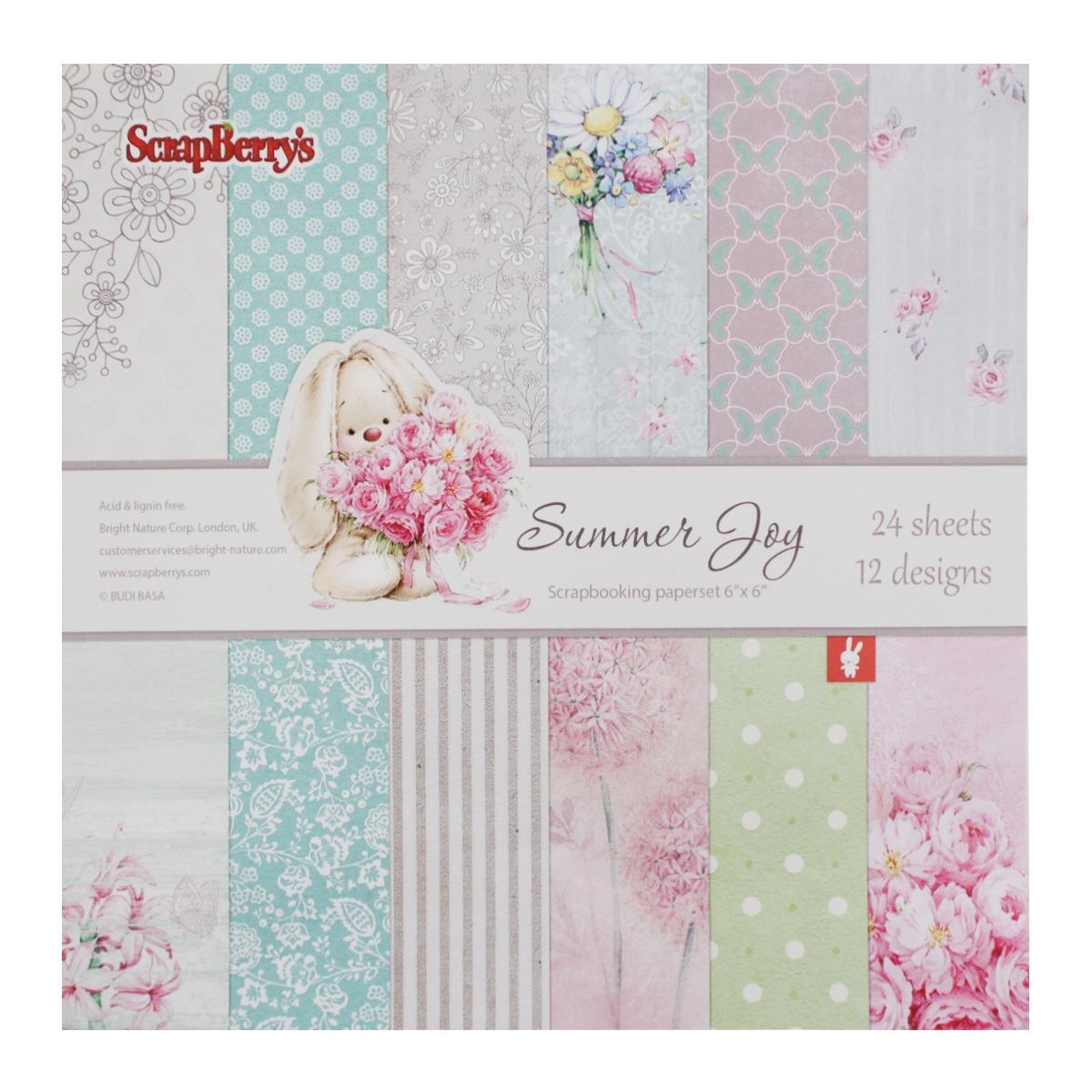 Бумага для скрапбукинга ScrapBerrys Летняя радость, 15 х 15 см, 24 листа. 497454497454