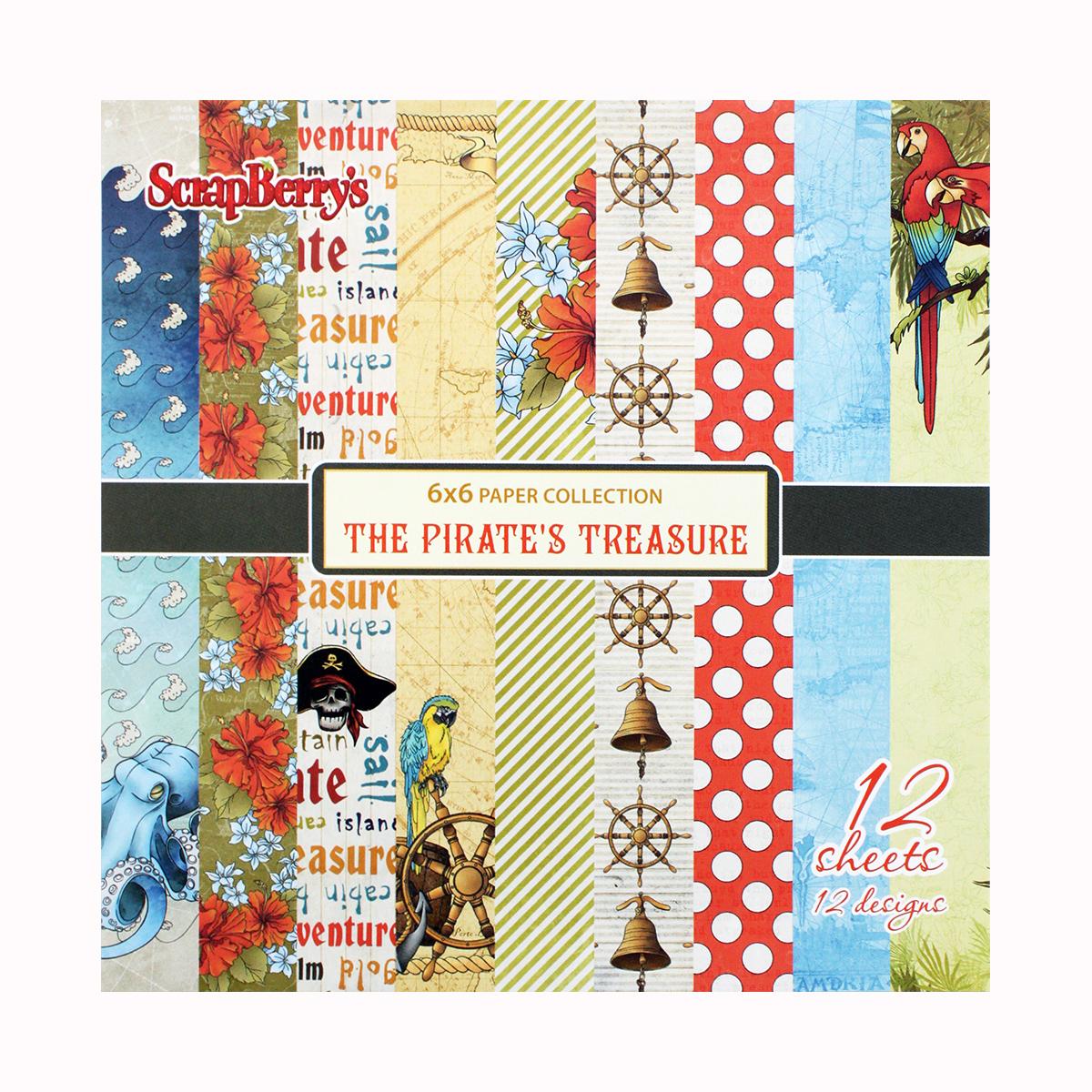 Бумага для скрапбукинга ScrapBerrys Сокровище пиратов, 15 х 15 см, 12 листов. 583319583319