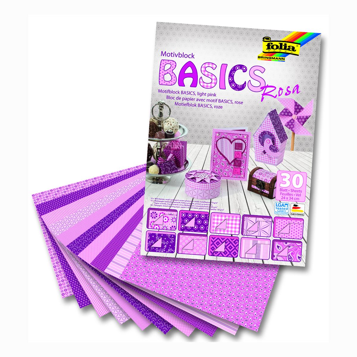 Набор дизайнерского картона Folia Базовый, цвет: розовый, 24 х 34 см, 30 листов7714355Набор дизайнерского картона Folia позволит создать красивый альбом, фоторамку или открытку ручной работы, оформить подарок или аппликацию. Скрапбукинг - это хобби, которое способно приносить массу приятных эмоций не только человеку, который этим занимается, но и его близким, друзьям, родным. Это невероятно увлекательное занятие, которое поможет вам сохранить наиболее памятные и яркие моменты вашей жизни, а также интересно оформить интерьер дома. Размер картона: 24 х 34 см.