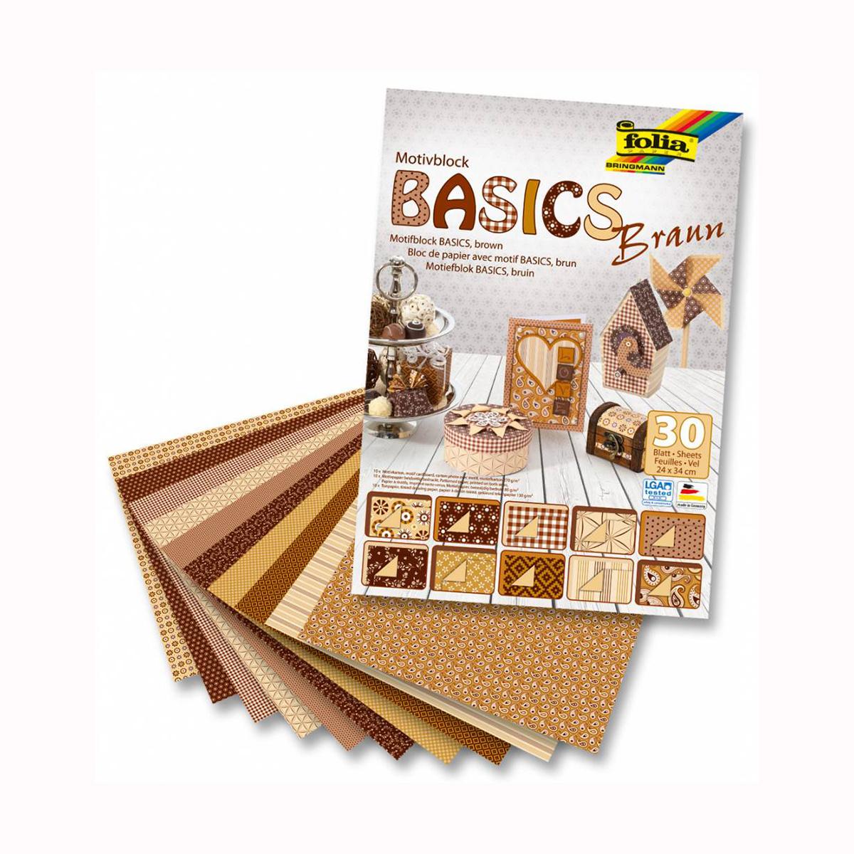 Набор дизайнерского картона Folia Базовый, цвет: коричневый, 24 х 34 см, 30 листов. 77143587714358