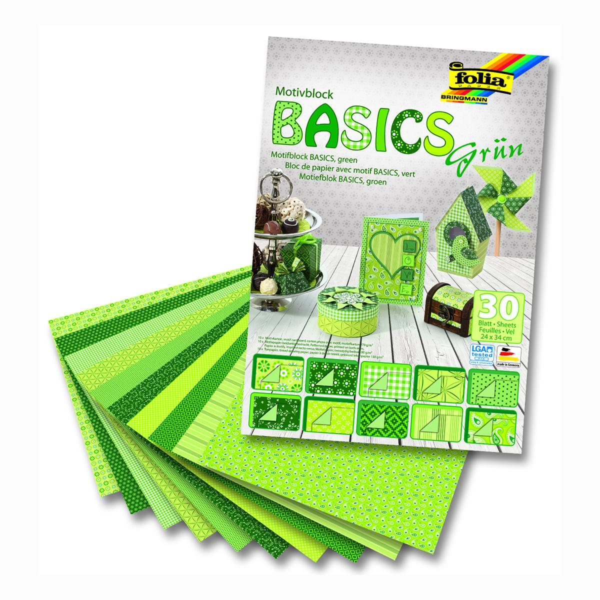 Набор дизайнерского картона Folia Базовый, цвет: зеленый, 24 х 34 см, 30 листов. 7714533 folia folia sample платье s m синий