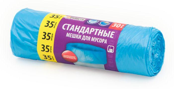 Мешки для мусора Paterra, цвет: синий, 35 л, 30 шт106-054Мешки Paterra, выполненные из высокопрочного и эластичного полиэтилена, обеспечат чистоту и гигиену в квартире. Они удобны для сбора и утилизации мусора, занимают мало места, практичны в использовании. Благодаря удобным размерам, мешки легко вкладываются в ведро. Количество: 30 шт. Размер мешка: 52 х 57 см.