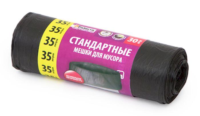 Мешки для мусора Paterra, цвет: черный, 35 л, 30 шт106-060Мешки Paterra, выполненные из высокопрочного и эластичного полиэтилена, обеспечат чистоту и гигиену в квартире. Они удобны для сбора и утилизации мусора, занимают мало места, практичны в использовании. Благодаря удобным размерам, мешки легко вкладываются в ведро. Количество: 30 шт. Размер мешка: 52 х 57 см.