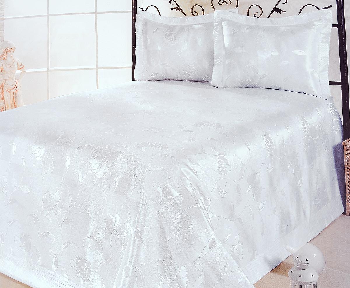 Комплект для спальни Nazsu Akasya: покрывало 240 х 260 см, 2 наволочки 50 х 70 см, цвет: белый198668Изысканный комплект для спальни Nazsu Akasya состоит из покрывала и двух наволочек. Изделия выполнены из высококачественного полиэстера (50%) и хлопка (50%), легкие, прочные и износостойкие. Ткань блестящая, что придает ей больше роскоши. Комплект Nazsu - это отличный способ придать спальне уют и комфорт, а также позволит по-королевски украсить интерьер. Размер покрывала: 240 х 260 см.Размер наволочки: 50 х 70 см.
