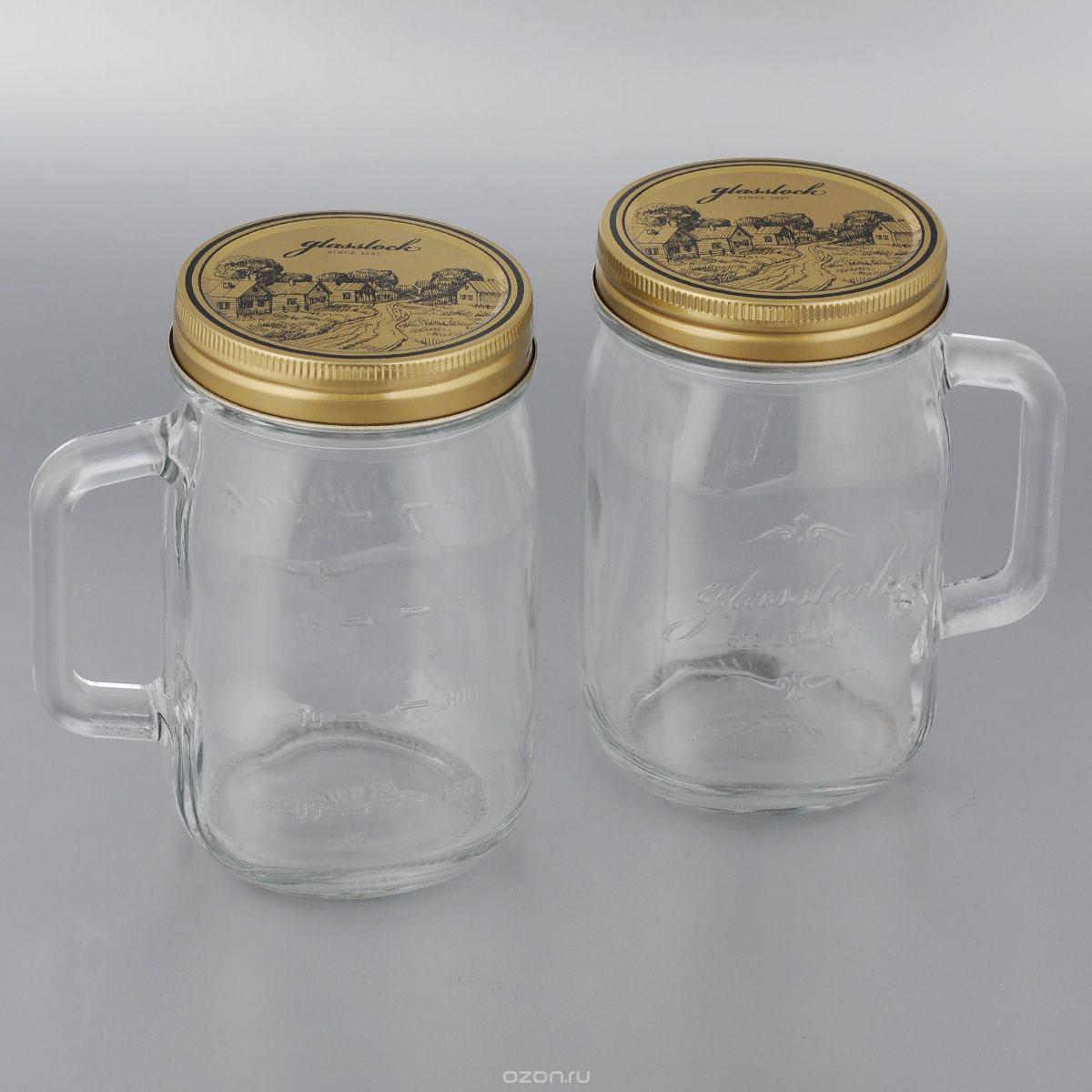 Набор банок для сыпучих продуктов Glasslock, цвет: золотистый, прозрачный, 500 мл, 2 штIG-753_прозрачный, золотистыйНабор банок для сыпучих продуктов Glasslock, 500 мл, 2 шт