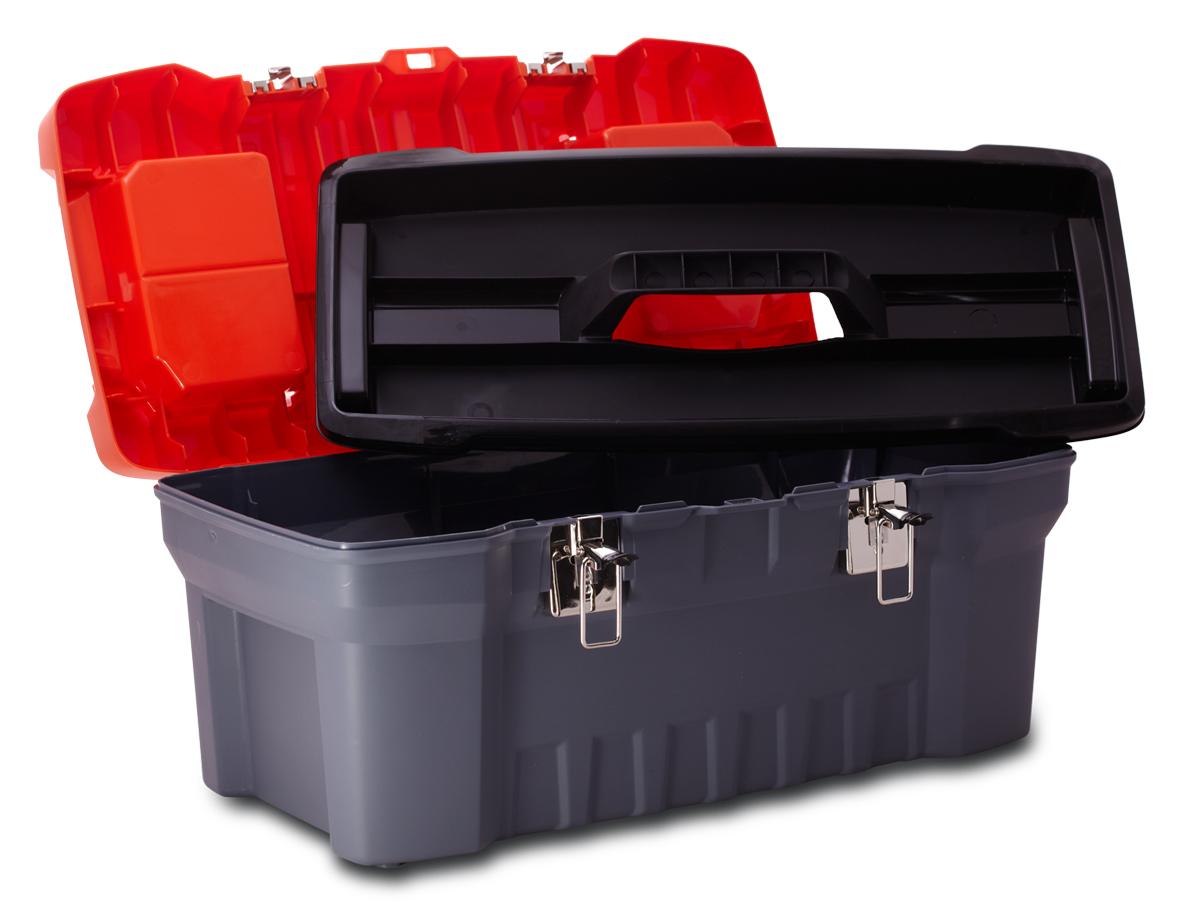 Ящик для инструментов Blocker Expert, цвет: серый, оранжевый, 510 х 260 х 220 ммПЦ3731/НСРСВПрочный, удобный ящик Blocker Expert предназначен для хранения и переноски инструментов, домашних мелочей, рыболовных принадлежностей. Надежные металлические замки, современный дизайн, конструкция, предусматривающая повышенные нагрузки, внутренний лоток. Встроенные органайзеры в крышке для размещения мелких деталей.