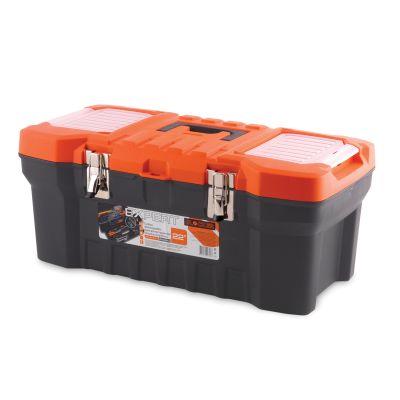 Ящик для инструментов Blocker Expert, цвет: черный, оранжевый, 560 х 280 х 235 ммПЦ3732-1ЧРОРПрочный, удобный ящик Blocker Expert предназначен для хранения и переноски инструментов, домашних мелочей, рыболовных принадлежностей. Надежные металлические замки, современный дизайн, конструкция, предусматривающая повышенные нагрузки, внутренний лоток. Встроенные органайзеры в крышке для размещения мелких деталей.