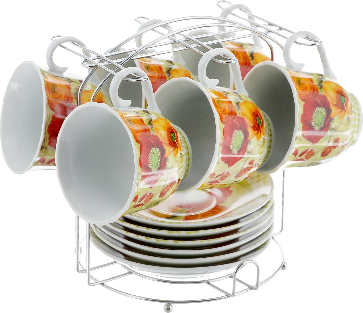 Набор чайный Bella, на подставке, 13 предметов. DL-F6MS-179DL-F6MS-179Набор Bella состоит из шести чашек и шести блюдец, изготовленных из высококачественного фарфора. Чашки оформлены красочным рисунком. Изделия расположены на металлической подставке. Такой набор подходит для подачи чая или кофе. Изящный дизайн придется по вкусу и ценителям классики, и тем, кто предпочитает утонченность и изысканность. Он настроит на позитивный лад и подарит хорошее настроение с самого утра. Чайный набор Bella - идеальный и необходимый подарок для вашего дома и для ваших друзей в праздники. Объем чашки: 220 мл. Диаметр чашки (по верхнему краю): 8 см. Высота чашки: 7 см. Диаметр блюдца: 14 см. Высота блюдца: 2 см. Размер подставки: 17,5 х 17 х 19,3 см.