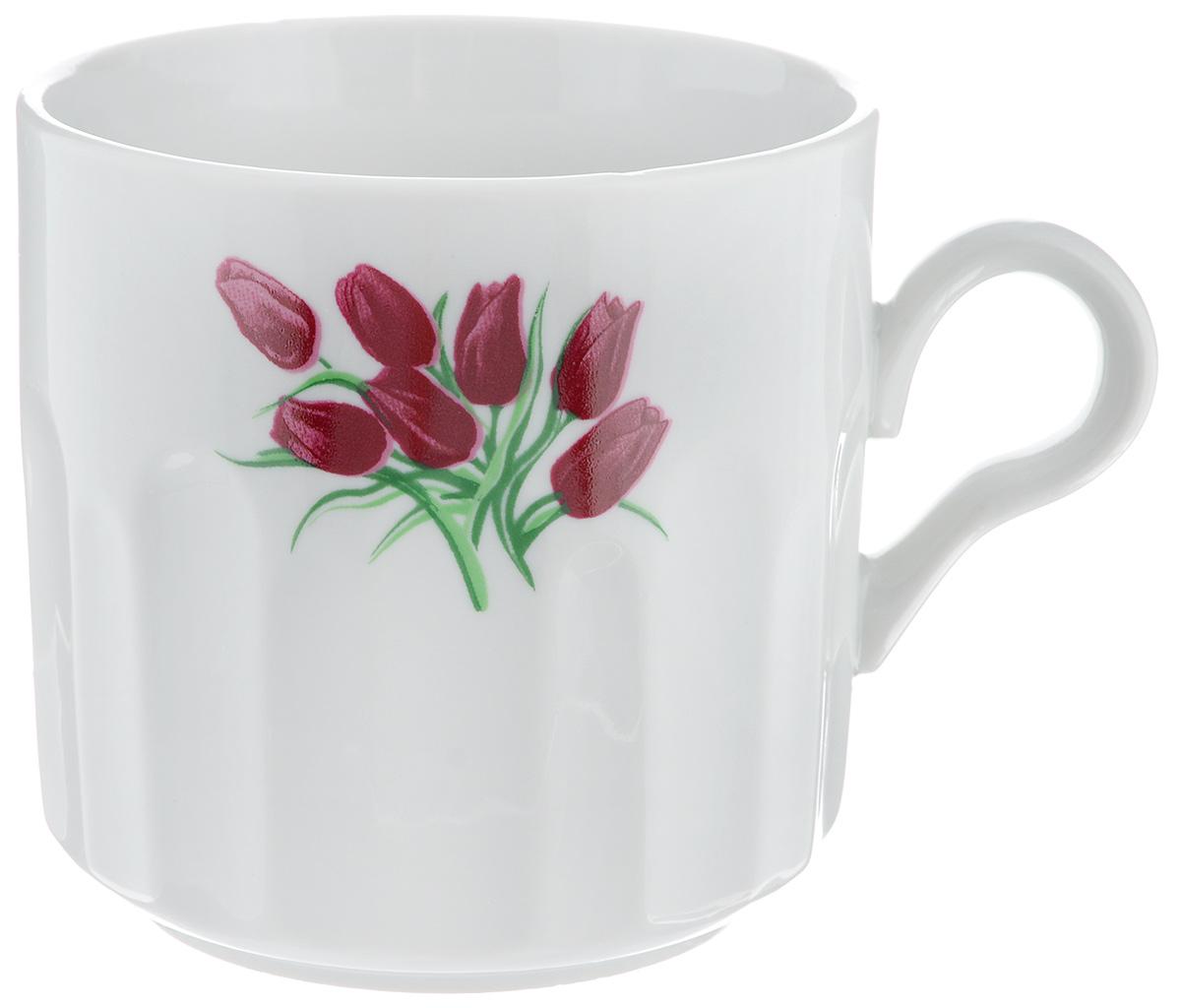 Кружка Фарфор Вербилок Тюльпаны, 500 мл5720980Кружка Фарфор Вербилок Тюльпаны способна скрасить любое чаепитие. Изделие выполнено из высококачественного фарфора. Посуда из такого материала позволяет сохранить истинный вкус напитка, а также помогает ему дольше оставаться теплым. Диаметр по верхнему краю: 9,5 см. Высота кружки: 9,5 см.