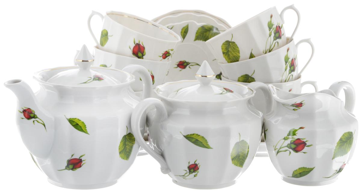 Сервиз чайный Фарфор Вербилок Кузнецовский. Бутоны раскидные, 15 предметов26331050Чайный сервиз Фарфор Вербилок Кузнецовский. Бутоны раскидные состоит из 6 чашек, 6 блюдец, молочника, сахарницы и заварочного чайника. Изделия выполнены из высококачественного фарфора и оформлены цветочным рисунком. Изящный чайный сервиз прекрасно оформит стол к чаепитию и порадует вас элегантным дизайном и качеством исполнения. Объем чайника: 850 мл. Высота чайника (без учета крышки): 12,5 см. Диаметр чайника (по верхнему краю): 6 см. Высота сахарницы (без учета крышки): 11 см. Диаметр сахарницы (по верхнему краю): 6 см. Объем сахарницы: 600 мл. Объем сливочника: 400 мл. Высота сливочника: 9,5 см. Размер сливочника (по верхнему краю): 10 х 7,5 см. Объем чашки: 350 мл. Диаметр чашки (по верхнему краю): 8 см. Высота чашки: 8,5 см. Диаметр блюдца: 14,5 см. Высота блюдца: 2 см.