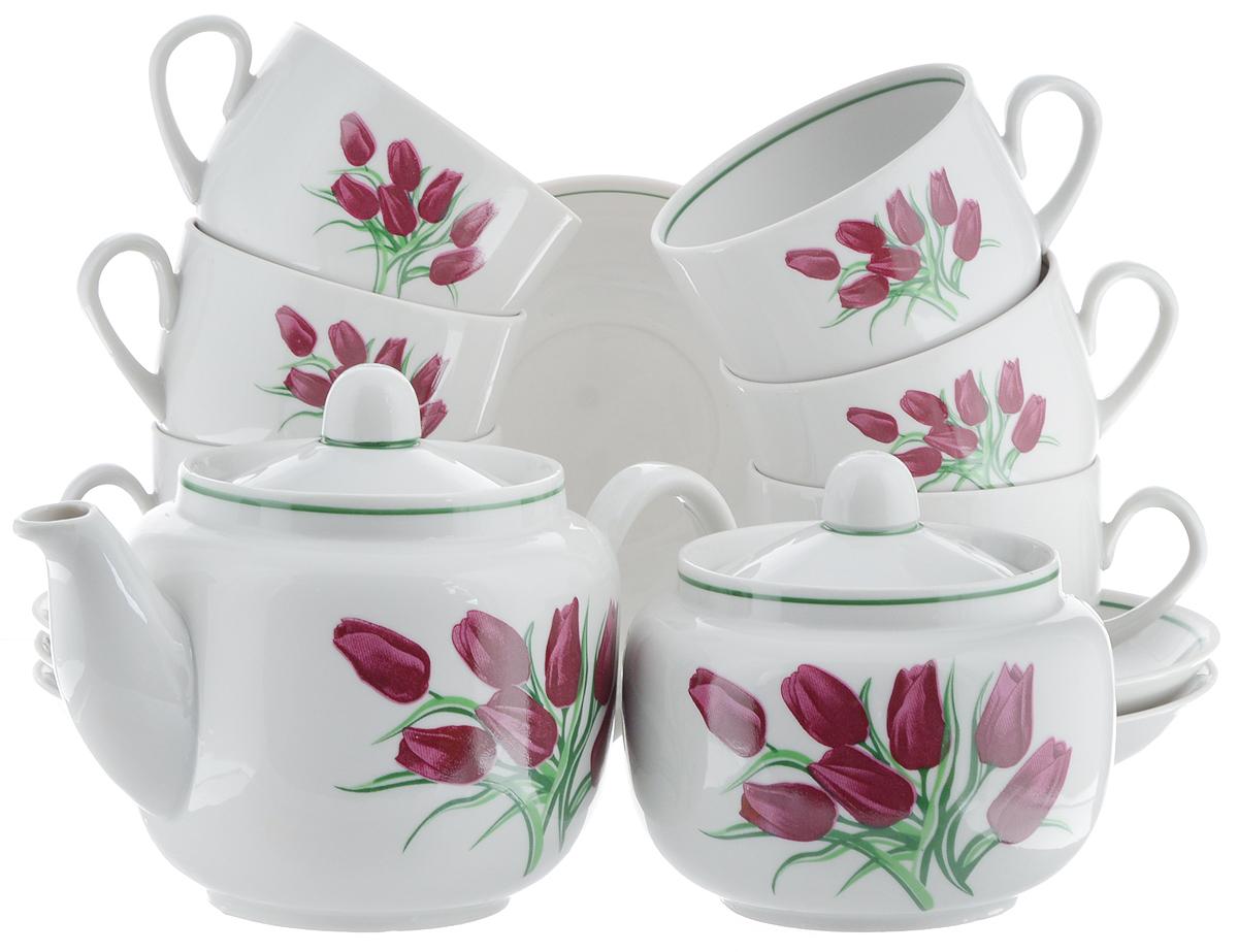 Сервиз чайный Фарфор Вербилок Август. Тюльпаны, 14 предметов4570980Чайный сервиз Фарфор Вербилок Август. Тюльпаны состоит из 6 чашек, 6 блюдец, сахарницы и заварочного чайника. Изделия выполнены из высококачественного фарфора и оформлены цветочным рисунком. Изящный чайный сервиз прекрасно оформит стол к чаепитию и порадует вас элегантным дизайном и качеством исполнения. Объем чайника: 600 мл. Высота чайника (без учета крышки): 10,5 см. Диаметр чайника (по верхнему краю): 6,5 см. Высота сахарницы (без учета крышки): 8,5 см. Диаметр сахарницы (по верхнему краю): 6,5 см. Объем сахарницы: 500 мл. Объем чашки: 300 мл. Диаметр чашки (по верхнему краю): 8,5 см. Высота чашки: 6 см. Диаметр блюдца: 14 см. Высота блюдца: 2,3 см.