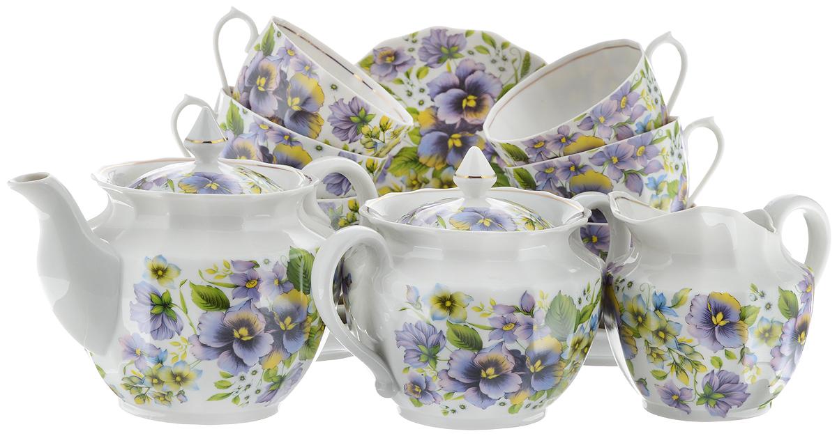 Сервиз чайный Фарфор Вербилок Фиалки, 15 предметов115510Чайный сервиз Фарфор Вербилок Фиалки состоит из 6 чашек, 6 блюдец, молочника, сахарницы и заварочного чайника. Изделия выполнены из высококачественного тонкостенного фарфора и оформлены цветочным рисунком. Изящный чайный сервиз прекрасно оформит стол к чаепитию и порадует вас элегантным дизайном и качеством исполнения.Объем чайника: 600 мл.Высота чайника (без учета крышки): 10,5 см.Диаметр чайника (по верхнему краю): 6,5 см.Высота сахарницы (без учета крышки): 9,5 см.Диаметр сахарницы (по верхнему краю): 6 см.Объем сахарницы: 600 мл.Объем сливочника: 350 мл.Высота сливочника: 9,5 см.Размер сливочника (по верхнему краю): 8,5 х 6,5 см.Объем чашки: 200 мл.Диаметр чашки (по верхнему краю): 8,5 см.Высота чашки: 5,5 см.Диаметр блюдца: 14 см.Высота блюдца: 2,5 см.