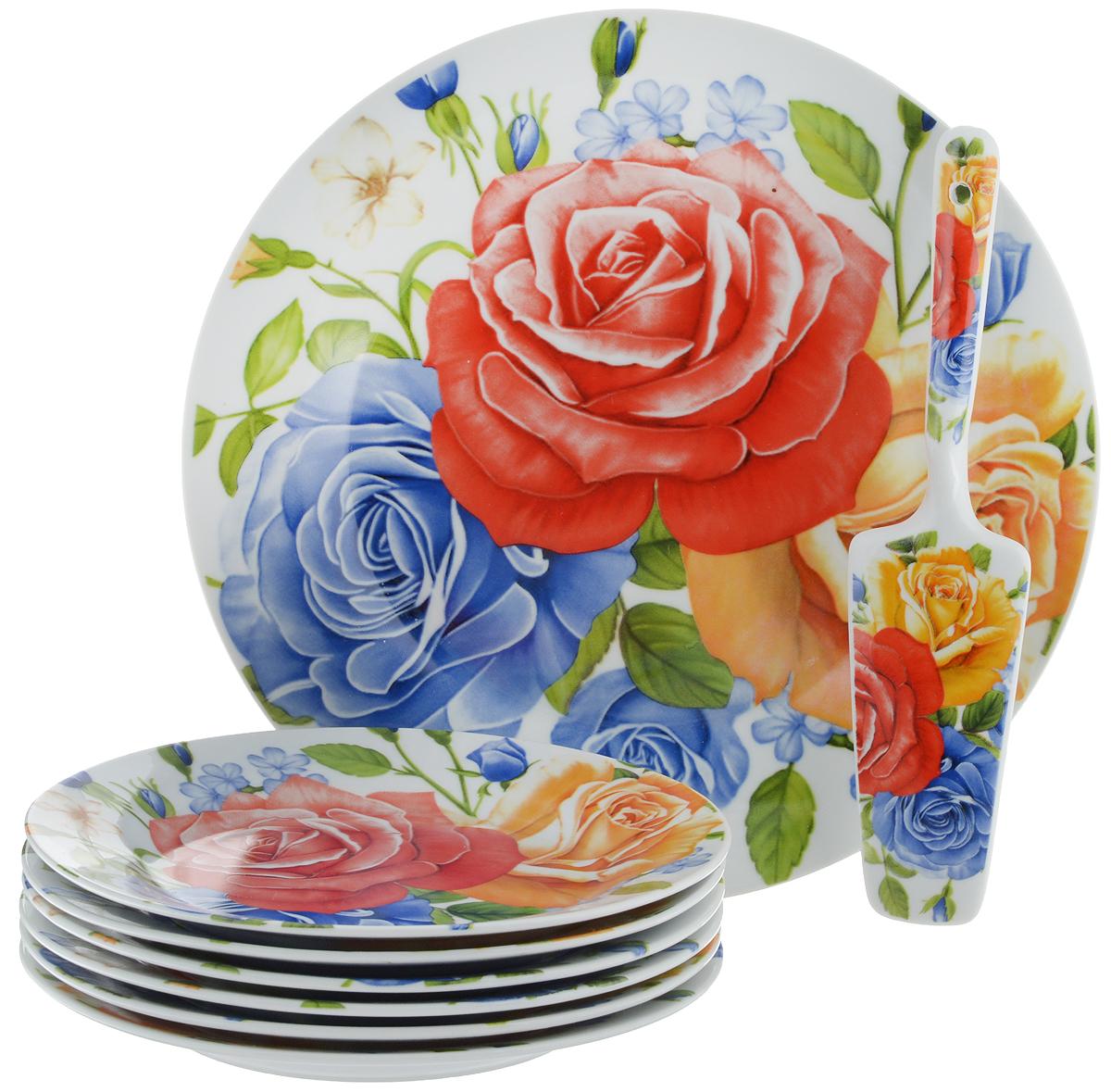 Набор для торта Bella, 8 предметов. DL-S8CB-175115610Набор для торта Bella состоит из 7 тарелок и лопатки. Изделия выполнены из высококачественного фарфора и оформлены ярким рисунком. Набор идеален для подачи тортов, пирогов и другой выпечки.Яркий дизайн сделает набор изысканным украшением праздничного стола.Диаметр меленьких тарелок: 19,3 см.Диаметр большой тарелки: 26,5 см.Размеры лопатки: 23 х 5,3 х 2 см.