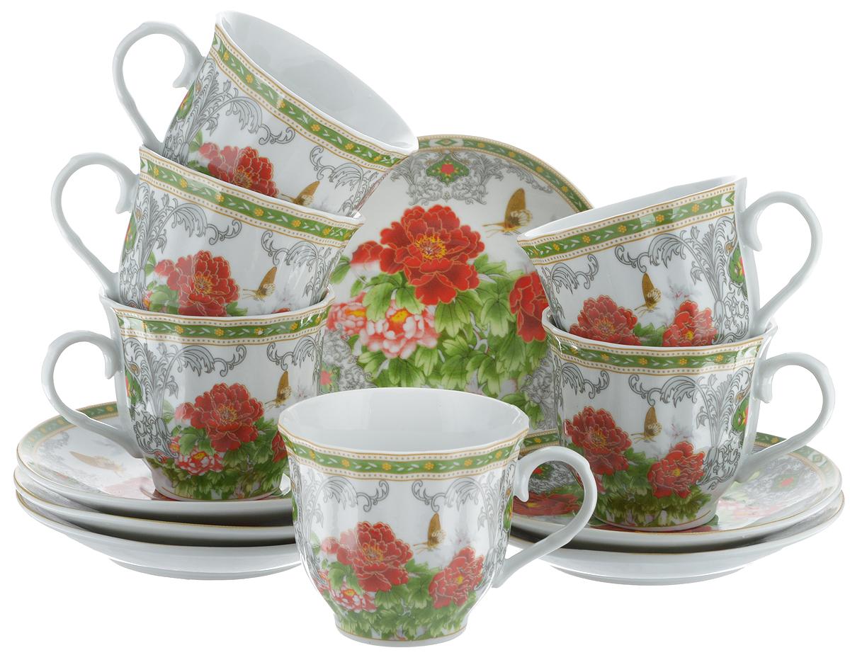 Набор чайный Bella, 12 предметов. DL-RF6-020DL-RF6-020Чайный набор Bella состоит из 6 чашек и 6 блюдец, изготовленных из высококачественного фарфора. Такой набор прекрасно дополнит сервировку стола к чаепитию, а также станет замечательным подарком для ваших друзей и близких. Объем чашки: 220 мл. Диаметр чашки (по верхнему краю): 8 см. Высота чашки: 7 см. Диаметр блюдца: 14 см. Высота блюдца: 2 см.