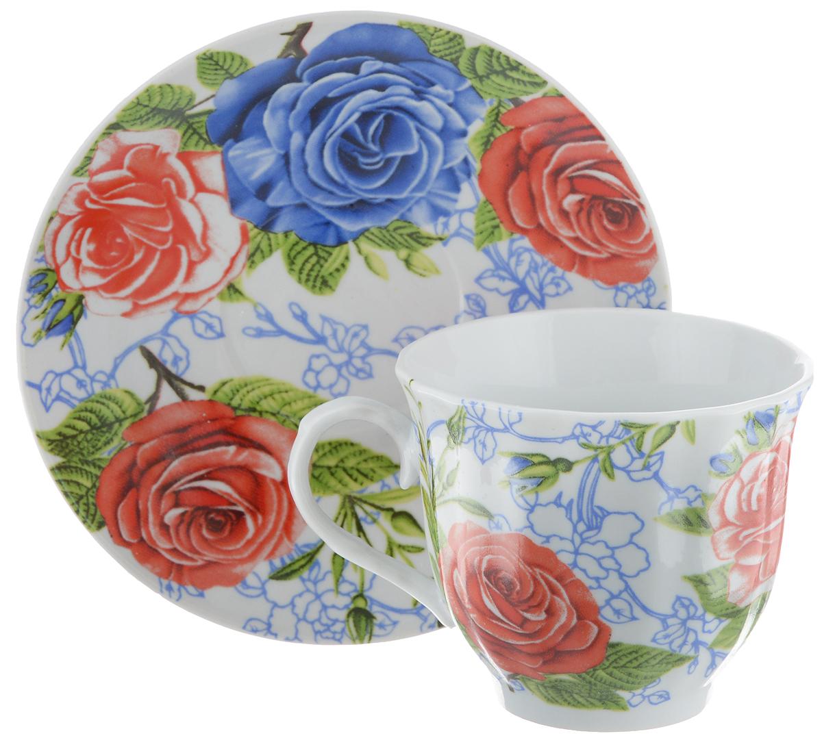 Чайная пара Bella, 2 предмета. DL-F1GB-174115610Чайная пара Bella состоит из чашки и блюдца, изготовленных из высококачественного фарфора. Оригинальный яркий дизайн, несомненно, придется вам по вкусу.Чайная пара Bella украсит ваш кухонный стол, а также станет замечательным подарком к любому празднику.Диаметр чашки (по верхнему краю): 8,5 см.Высота чашки: 7 см.Объем чашки: 220 мл.Диаметр блюдца: 14 см.