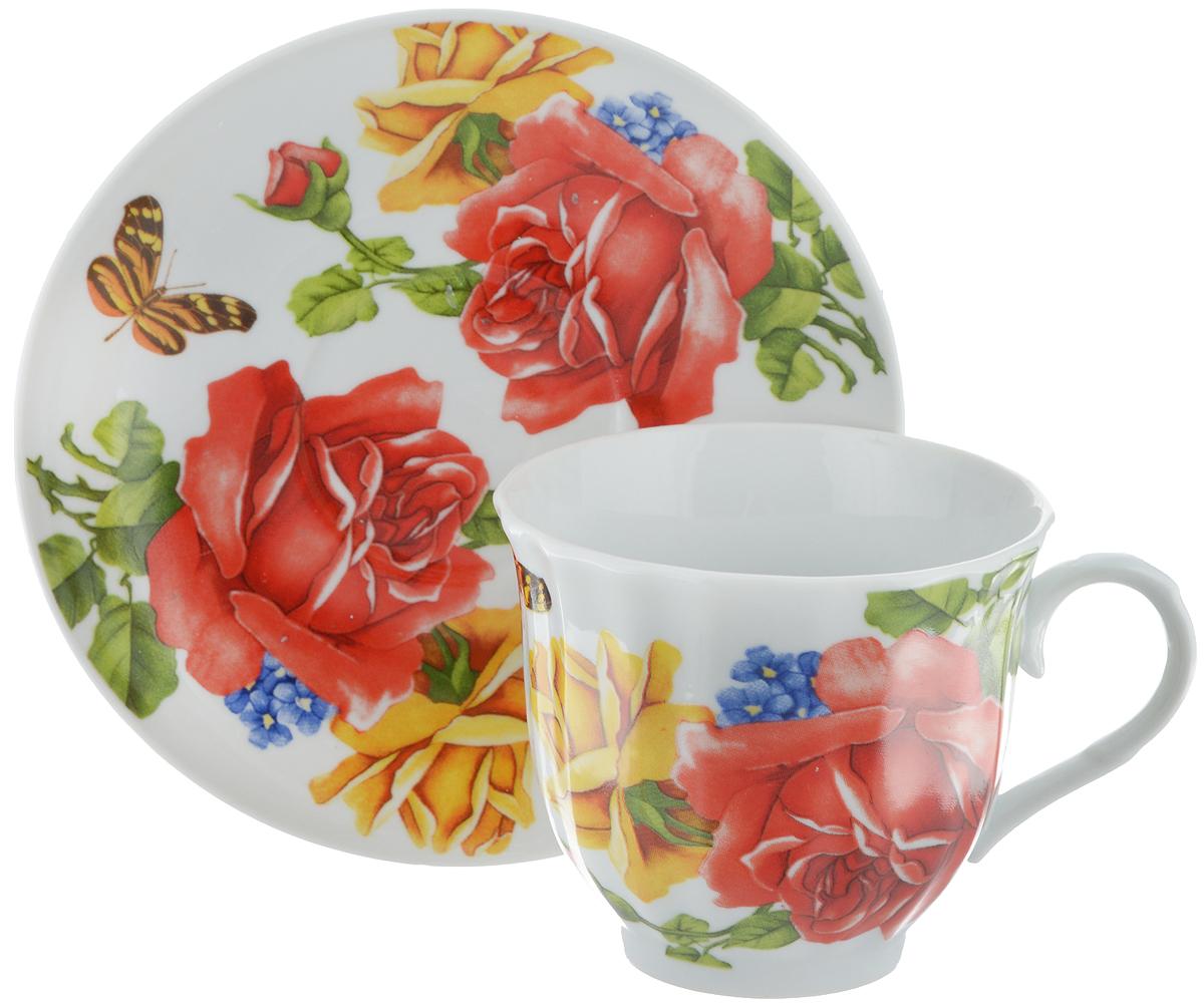 Чайная пара Bella, 2 предмета. DL-F1GB-176DL-F1GB-176Чайная пара Bella состоит из чашки и блюдца, изготовленных из высококачественного фарфора. Оригинальный яркий дизайн, несомненно, придется вам по вкусу. Чайная пара Bella украсит ваш кухонный стол, а также станет замечательным подарком к любому празднику. Диаметр чашки (по верхнему краю): 8,5 см. Высота чашки: 7,5 см. Объем чашки: 220 мл. Диаметр блюдца: 14 см.