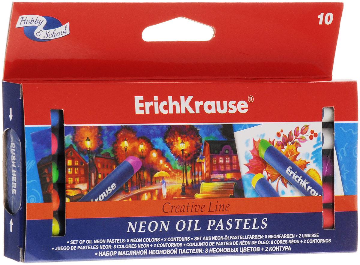Erich Krause Пастель масляная Creative Neon 10 цветов39154Масляная неоновая пастель Erich Krause Creative Neon подходит для рисования на бумаге, картоне и дереве, позволяет работать на мокрой поверхности. В наборе 8 неоновых цветов и 2 контура. Пастель ярких неоновых цветов имеет бархатистую структуру, водоустойчивая. Мелки подходят для разных техник рисования. Каждый брусок пастели в индивидуальной обертке.