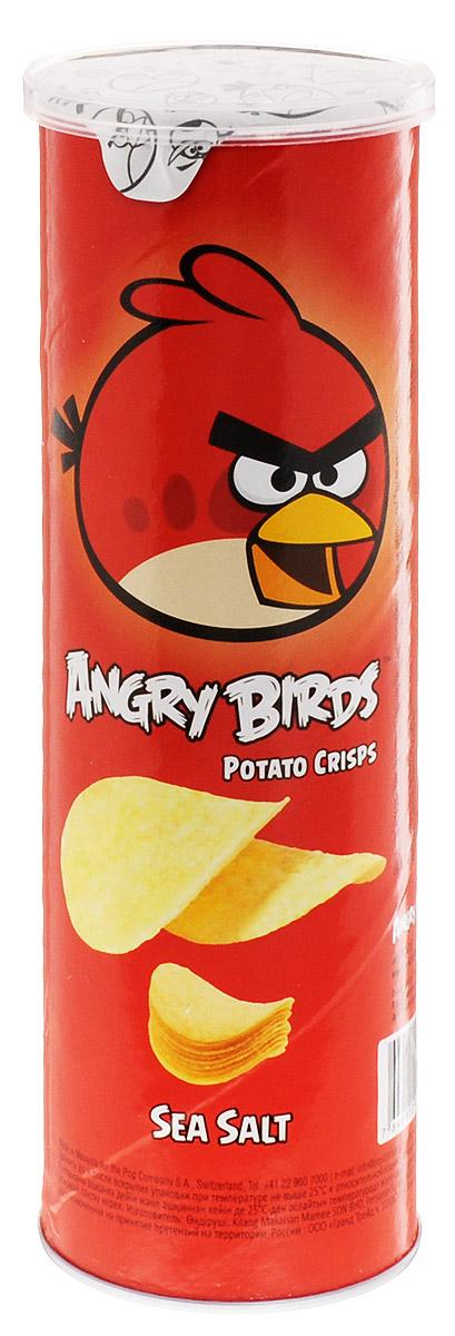 Angry Birds чипсы с морской солью, 100 г0120710Хрустящая картофельная закуска Angry Birds с настоящей морской солью и тонкими нотками перца составит компанию сидру или пиву. Возьмите с собой на пикник, в дорогу или в кинотеатр! Благодаря удобной тубе они не сломаются и не рассыплются. Рекомендуется подавать с нежными сливочными, медово-горчичными или томатными соусами.