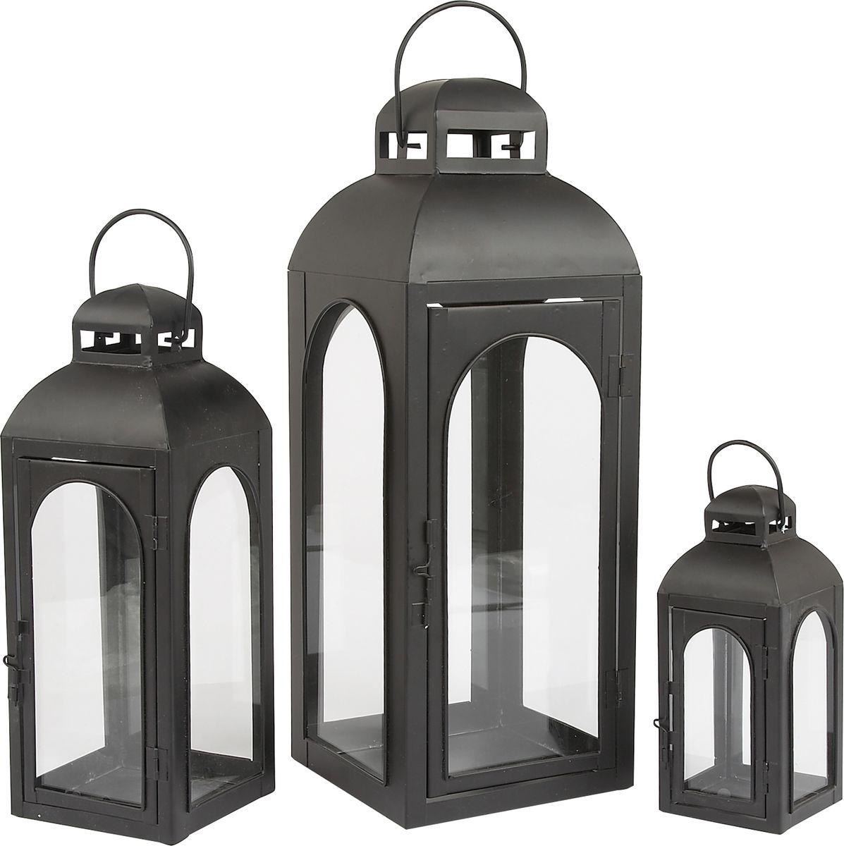 Набор фонарей Gardman, 3 шт, 45 см, 32 см, 20 см531-401Набор из трех подсвечников станет прекрасным украшением вашего дома или сада. Подходит для чайных и прямых свечей. Свечи в комплект не включены.
