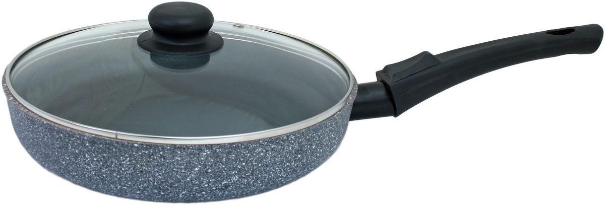"""Сковорода Casta """"Megapolis"""" с крышкой, с антипригарным покрытием, со съемной ручкой, цвет: серый. Диаметр 24 см. МР24 - СР/КР/2"""