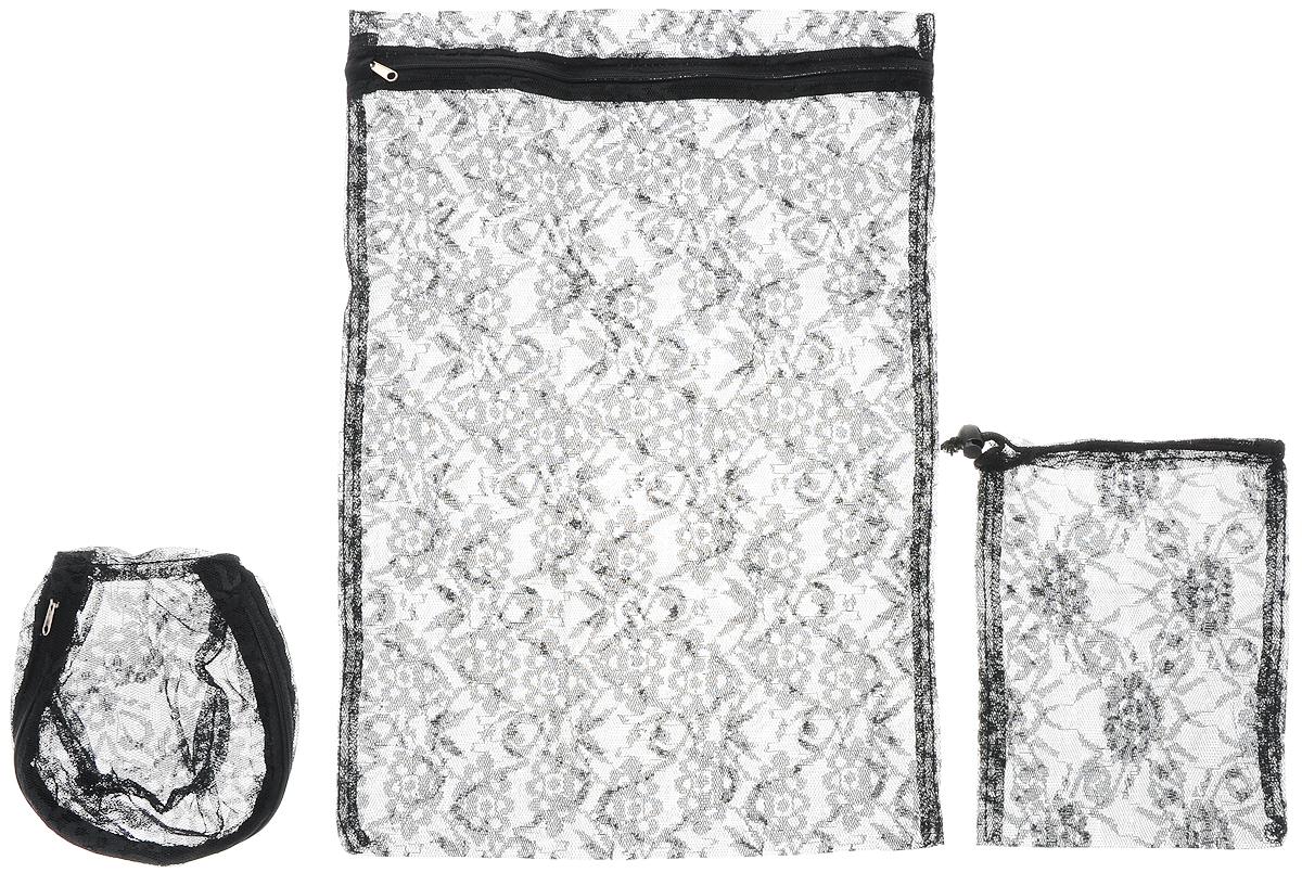 Набор мешков для стирки Eva Ажур, цвет: черный, 3 штЕ284_черныйС мешками Eva Ажур вы можете быть уверены в том, что во время стирки ваши темные вещи не потеряют вид. В комплект входят три мешка разных размеров, защищающих деликатные и мелкие изделия во время стирки. Удобно застегиваются застежкой-молнией, на которой предусмотрена специальная накладка на язычок, предотвращающая повреждение стиральной машины и другого белья. Маленькая вещь для большого удобства! Особенности: Защищают деликатные и мелкие изделия во время стирки, полоскания и отжима; Предотвращают повреждение стиральной машины и другого белья колечками для штор, застежками бюстгальтеров; Удобная застежка-молния со специальной накладкой на язычок. В набор входят: мешок 34 х 50 см; 15 х 18 см; 24 х 20 см.