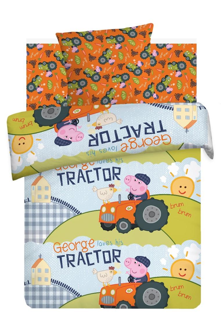 Комплект детского постельного белья Свинка Пеппа Джордж Тракторист, цвет: оранжевый (8781/8782 вид 1)354188