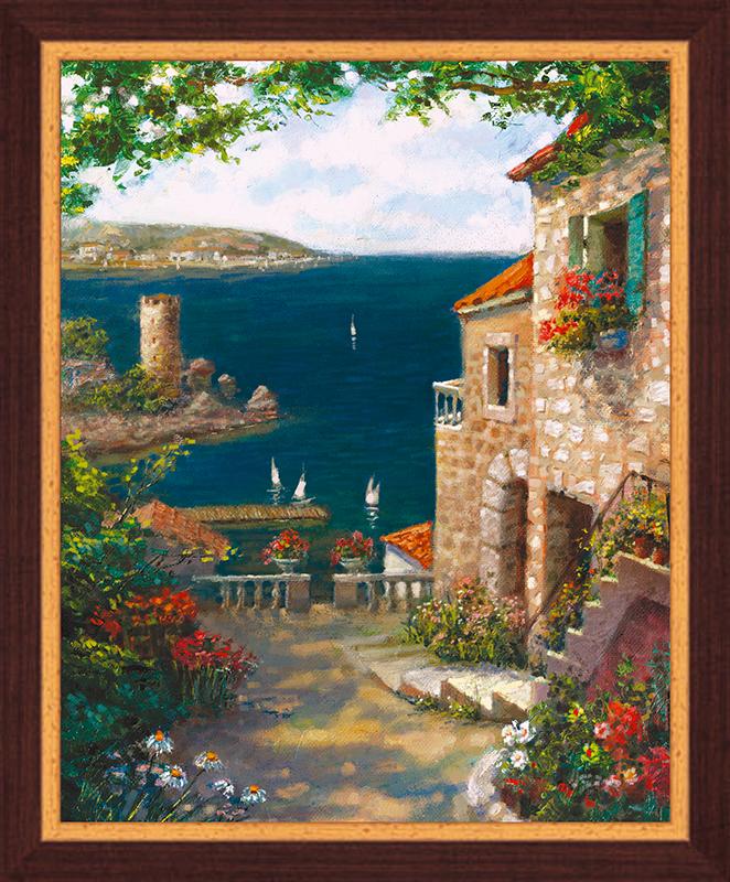 Картина Postermarket Средиземноморский пейзаж, 40 х 50 см. PM-4025PM-4025Картина Postermarket Средиземноморский пейзаж прекрасно подойдет для декора интерьера различных помещений. Постер, выполненный в технике фотопечать, оформлен багетом коричневого цвета. Картина для интерьера (постер) - это современное и актуальное направление в дизайне помещений. Ее можно использовать для оформления любых помещений (дом, квартира, офис, бар, кафе, ресторан или гостиница). работоспособность. Правильное оформление интерьера создает благоприятный психологический климат, улучшает настроение и мотивирует. Размер картины: 400 x 500 мм.