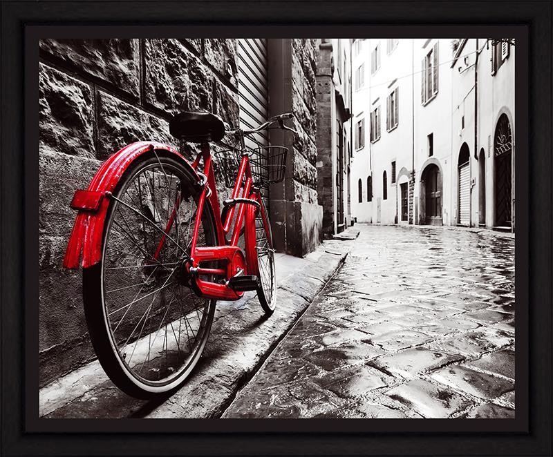 Картина Postermarket Красный велосипед в старом городе, 40 х 50 см. PM-4036PM-4036Картина Postermarket Красный велосипед в старом городе прекрасно подойдет для декора интерьера различных помещений. Постер, выполненный в технике фотопечать, оформлен багетом черного цвета. Картина для интерьера (постер) - это современное и актуальное направление в дизайне помещений. Ее можно использовать для оформления любых помещений (дом, квартира, офис, бар, кафе, ресторан или гостиница). работоспособность. Правильное оформление интерьера создает благоприятный психологический климат, улучшает настроение и мотивирует. Размер картины: 400 x 500 мм.