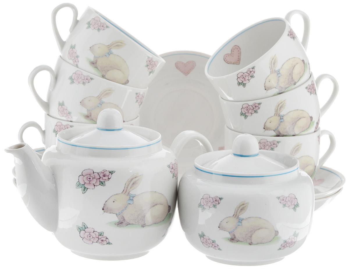 Сервиз чайный Фарфор Вербилок Август. Розовые мечты, 14 предметов4574330Чайный сервиз Фарфор Вербилок Август. Розовые мечты состоит из 6 чашек, 6 блюдец, сахарницы и заварочного чайника. Изделия выполнены из высококачественного фарфора и оформлены красивым рисунком. Изящный чайный сервиз прекрасно оформит стол к чаепитию и порадует вас элегантным дизайном и качеством исполнения. Объем чайника: 600 мл. Высота чайника (без учета крышки): 10,5 см. Диаметр чайника (по верхнему краю): 6,5 см. Высота сахарницы (без учета крышки): 8,5 см. Диаметр сахарницы (по верхнему краю): 6,5 см. Объем сахарницы: 500 мл. Объем чашки: 300 мл. Диаметр чашки (по верхнему краю): 8,5 см. Высота чашки: 6 см. Диаметр блюдца: 14 см. Высота блюдца: 2,3 см.