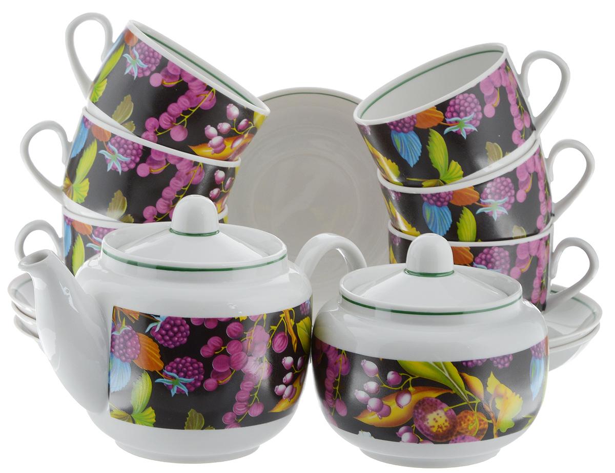 Сервиз чайный Фарфор Вербилок Август. Черная ягода, 14 предметов4570200Чайный сервиз Фарфор Вербилок Август. Черная ягода состоит из 6 чашек, 6 блюдец, сахарницы и заварочного чайника. Изделия выполнены из высококачественного фарфора и оформлены красивым рисунком. Изящный чайный сервиз прекрасно оформит стол к чаепитию и порадует вас элегантным дизайном и качеством исполнения. Объем чайника: 600 мл. Высота чайника (без учета крышки): 10,5 см. Диаметр чайника (по верхнему краю): 6,5 см. Высота сахарницы (без учета крышки): 8 см. Диаметр сахарницы (по верхнему краю): 6,5 см. Объем сахарницы: 500 мл. Объем чашки: 300 мл. Диаметр чашки (по верхнему краю): 8,5 см. Высота чашки: 6 см. Диаметр блюдца: 14 см. Высота блюдца: 2,3 см.