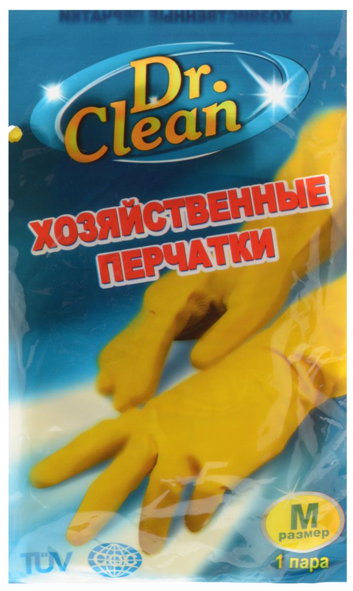 Перчатки хозяйственные Dr. Clean, цвет: желтый. Размер M45057Универсальные перчатки Dr. Clean произведены из высококачественного латекса, бесшовные, с рифленой поверхностью рабочих частей, которая позволяет удерживать мокрые предметы. Перчатки подходят для различных видов домашних работ. Изделия эластичны, хорошо облегают руку.