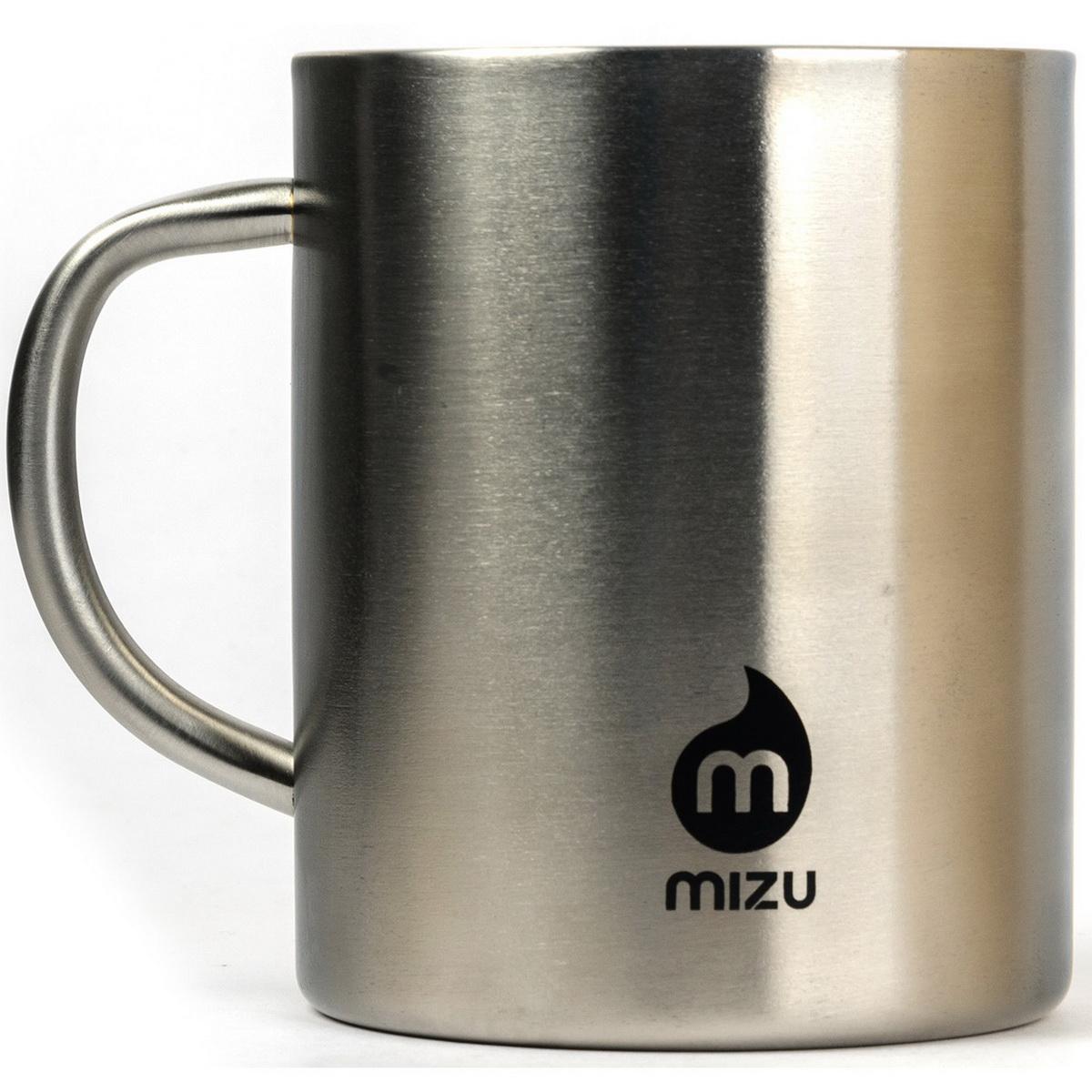 Термокружка Mizu, цвет: стальной, черный, 420 млW01AMZACCNSКружка из пищевой нержавеющей стали с фирменным логотипом MIZU Объем: 420 мл. Диаметр: 8, 5 см.