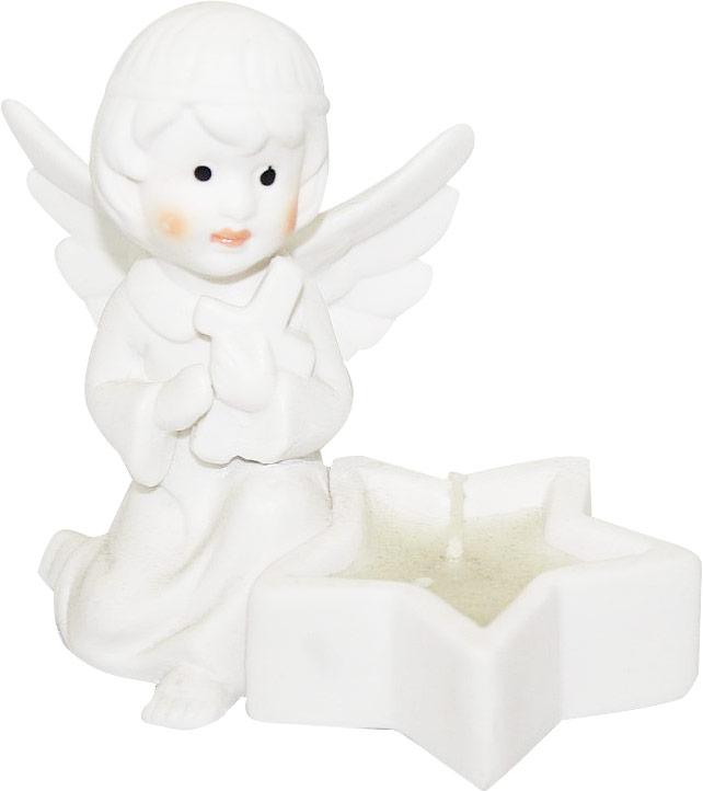 Подсвечник Lillo Ангел, со свечой, высота 9,3 смUP210DFПодсвечник Lillo Ангел, выполненный из керамики, украсит интерьер вашего дома или офиса. Оригинальный дизайн и красочное исполнение создадут праздничное настроение. Подсвечник выполнен в форме ангела, сидящего около небольшой чашечки в форме звезды. Внутри чашечки - парафиновая свеча.Вы можете поставить подсвечник в любом месте, где он будет удачно смотреться, и радовать глаз. Кроме того - это отличный вариант подарка для ваших близких и друзей в преддверии Нового года.