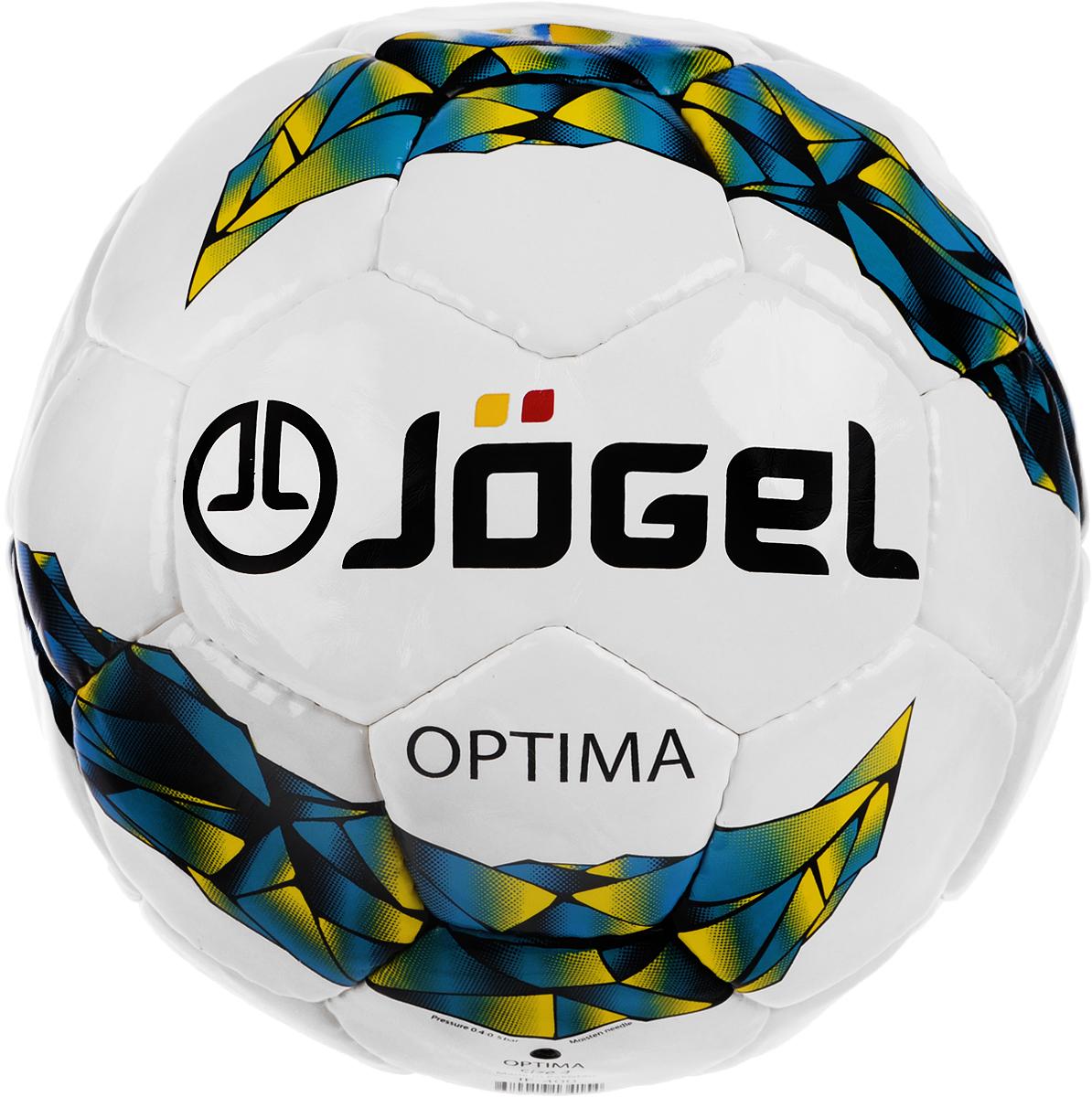 Мяч футзальный Jogel Optima, цвет: белый, лазурный, желтый. Размер 4. JF-400УТ-00009479Jogel Optima, оправдывая свое название, является оптимальным тренировочным футзальным мячом ручной сшивки из. Его отличительной особенностью является достойное соотношение технических характеристик и доступной цены. Данный мяч рекомендован для тренировок и тренировочных игр клубных и любительских команд. Поверхность мяча выполнена из износостойкой синтетической кожи (полиуретан) толщиной 1 мм. Мяч имеет 4 подкладочных слоя на нетканой основе (смесь хлопка с полиэстером) и оснащен бутиловой камерой со специальным наполнителем, обеспечивающим рекомендованный FIFA низкий отскок. Уникальной особенностью является традиционная конструкция мяча из 30 панелей. Рекомендованные покрытия: паркет, уличные площадки с твердыми ровными поверхностями. Количество подкладочных слоев: 4. Количество панелей: 30. Вес: 400-440 г. Длина окружности: 62-64 см. Рекомендованное давление: 0.6-0.8 бар. УВАЖЕМЫЕ КЛИЕНТЫ! Обращаем ваше внимание на тот факт, что мяч...