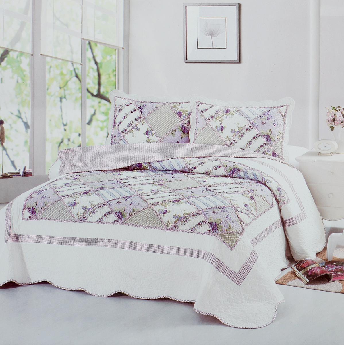 Комплект для спальни Karna Modalin. Пэчворк: покрывало 230 х 250 см, 2 наволочки 50 х 70 см, цвет: белый, розовый5022/CHAR003Изысканный комплект Karna Modalin. Пэчворк прекрасно оформит интерьер спальни или гостиной. Комплект состоит из двухстороннего покрывала и двух наволочек. Изделия изготовлены из микрофибры. Постельные комплекты Karna уникальны, так как они практичны и универсальны в использовании. Материал хорошо сохраняет окраску и форму. Изделия долговечны, надежны и легко стираются. Комплект Karna не только подарит тепло, но и гармонично впишется в интерьер вашего дома. Размер покрывала: 230 х 250 см. Размер наволочки: 50 х 70 см.