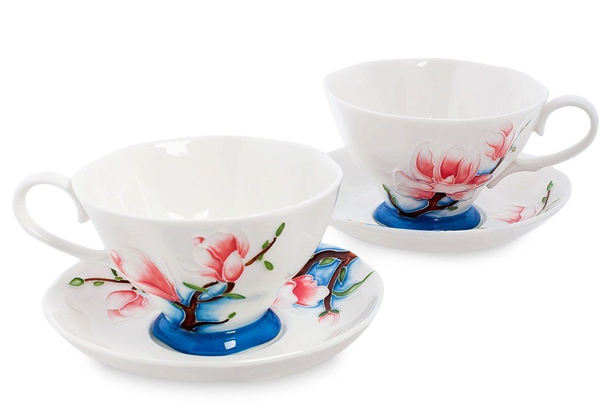 Набор чайный Pavone Цветущая сакура, 4 предмета. 451573451573Объем чашки: 200 мл Диаметр блюдца: 14 см.