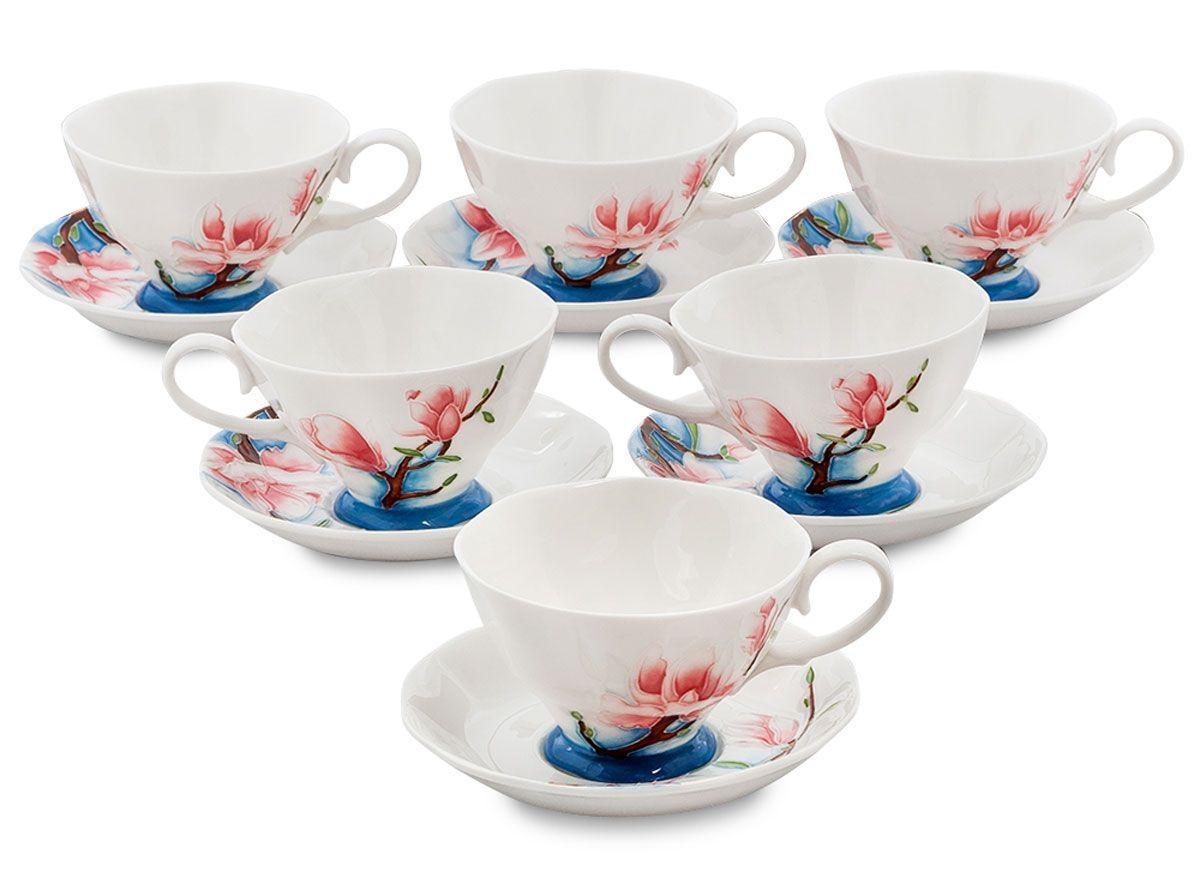 Набор чайный Pavone Цветущая сакура, 6 предметов. 451574451574Объем чашки: 200 мл Диаметр блюдца: 14 см.