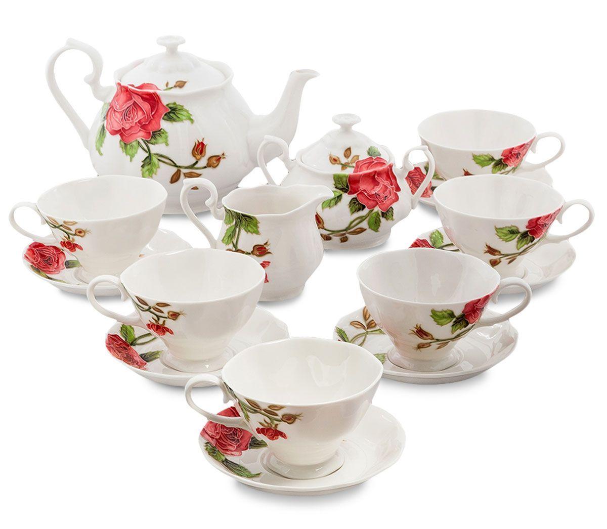 Сервиз чайный Pavone Рафаэлло. Роза, 15 предметов. 451578451578Объем чайника: 1,25 л Объем сахарницы: 400 мл Объем молочника: 250 мл Объем чашки: 200 мл Диаметр блюдца: 14 см.