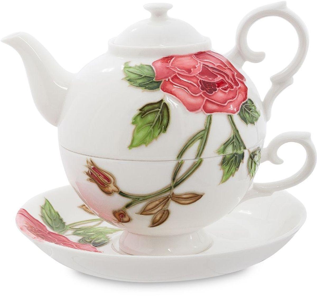 Набор чайный Pavone Рафаэлло. Роза, 3 предмета. 451581451581Объем чайника: 400 мл Объем чаши: 250 мл Диаметр блюдца: 15 см