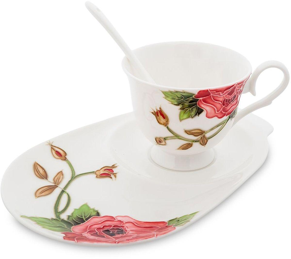Чайная пара Pavone Рафаэлло. Роза, 3 предмета. 451582451582Объем чашки: 250 мл Длина блюдца: 23 см