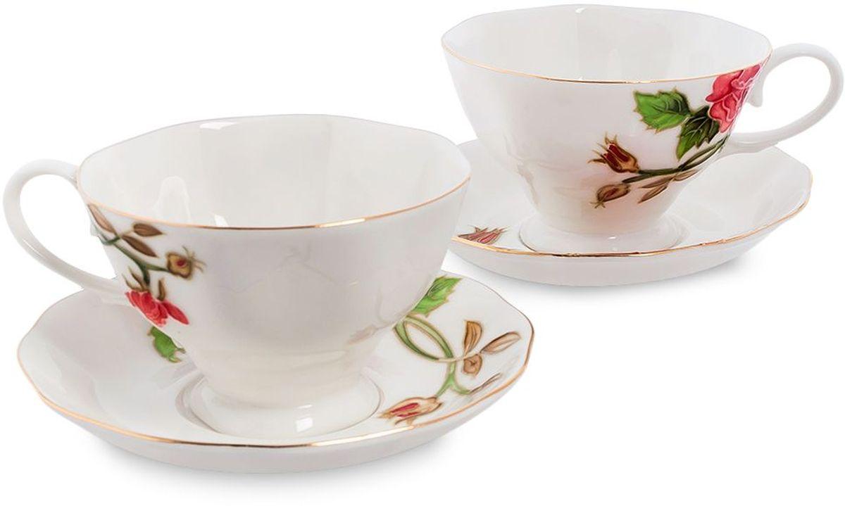 Набор чайный Pavone Золотая Роза, 4 предмета. 451585451585Объем чашки: 200 мл Диаметр блюдца: 14 см.