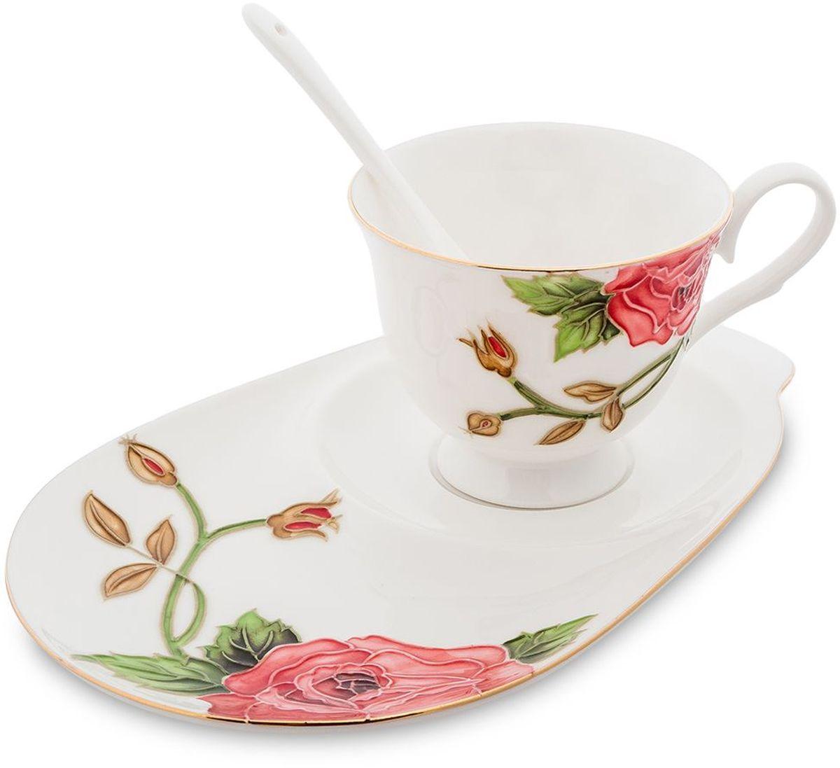 Чайная пара Pavone Золотая Роза, 3 предмета. 451588451588Объем чашки: 250 мл Длина блюдца: 23 см