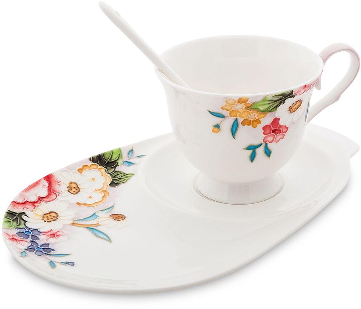 Чайная пара Pavone Королева Камилла, 3 предмета. 451594451594Объем чашки: 250 мл Длина блюдца: 23 см