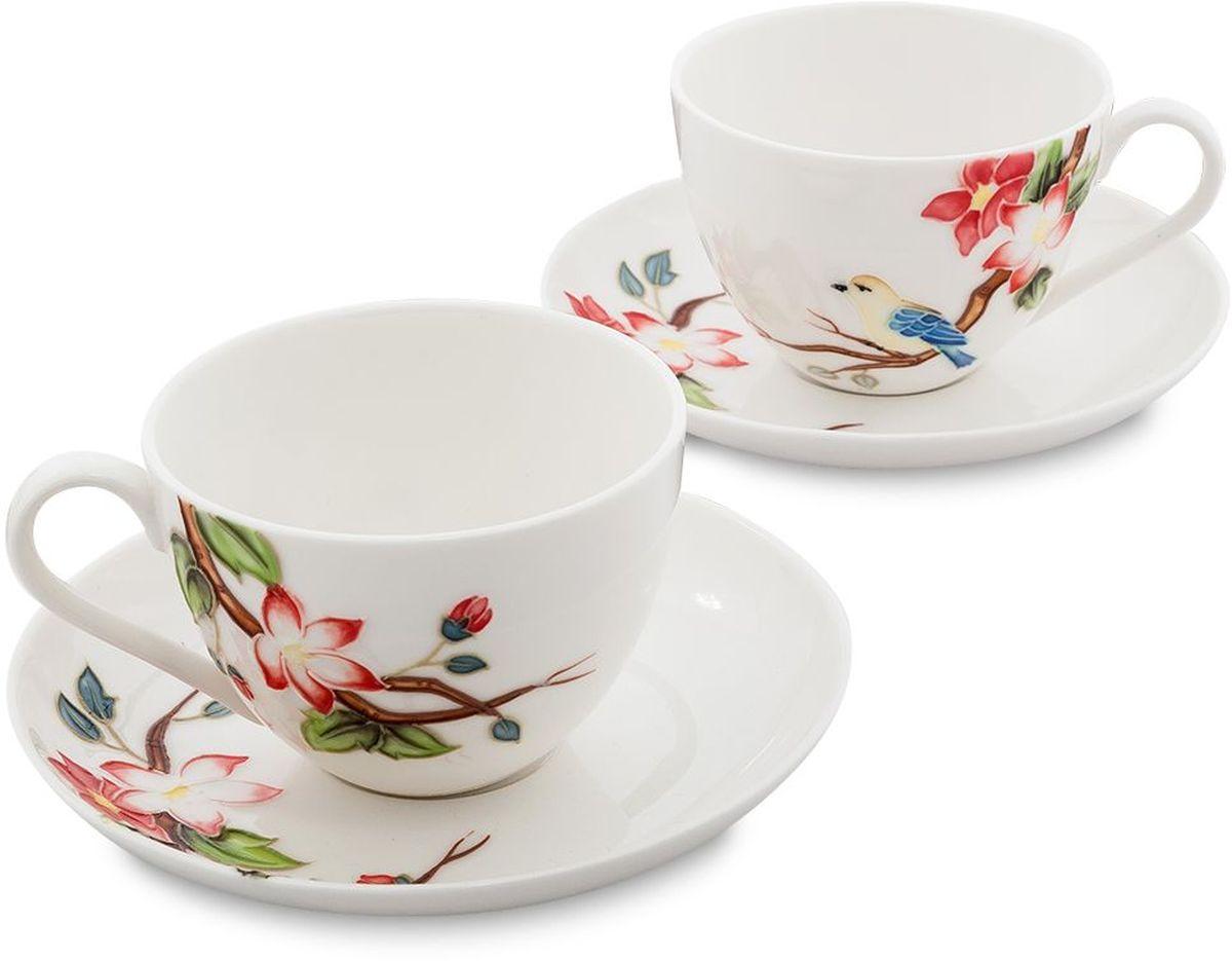 Набор чайный Pavone Райская птица, 4 предмета. 451596451596Объем чашки: 250 мл Диаметр блюдца: 15 см.